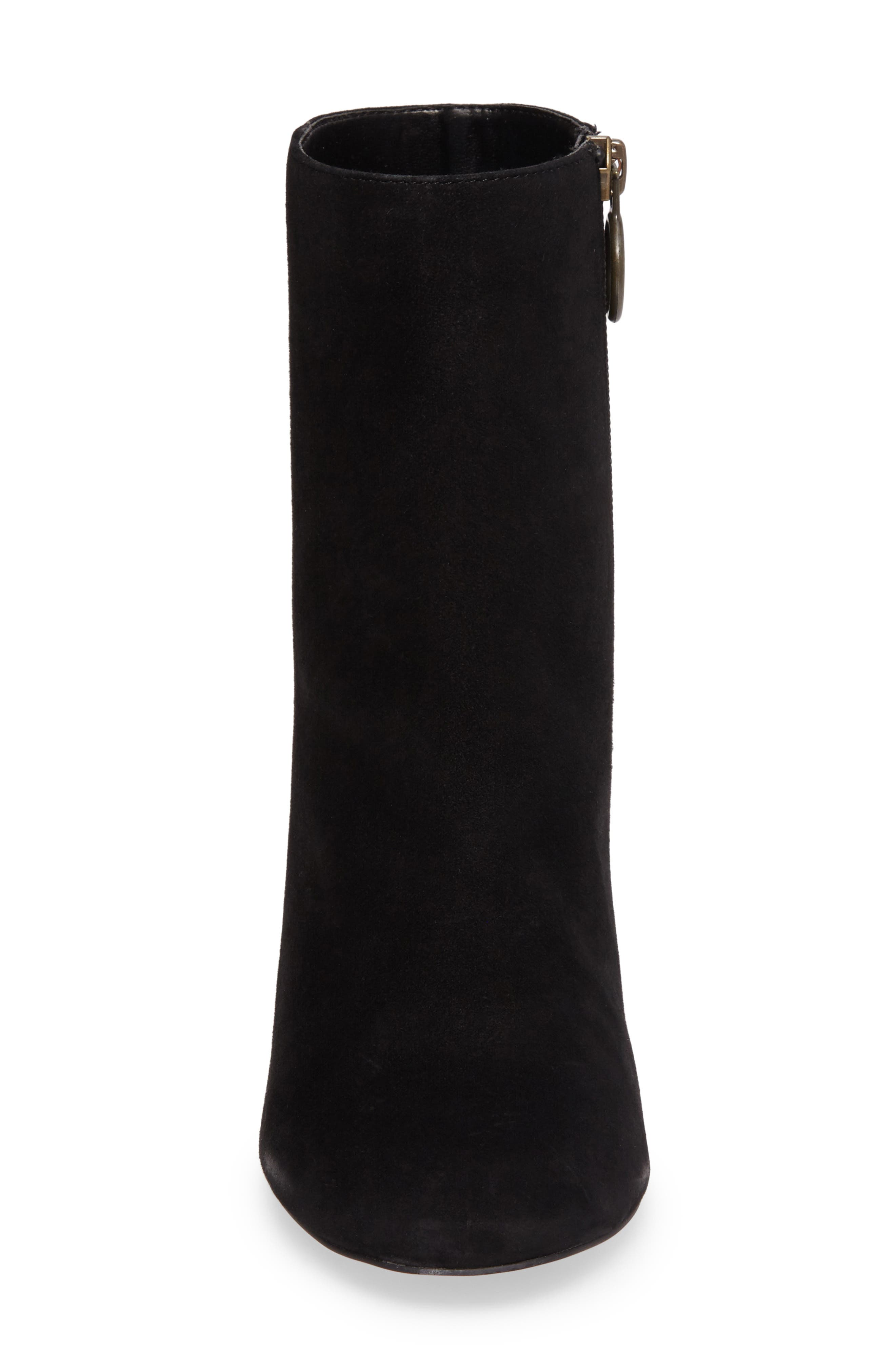 Mulholland Embroidered Boot,                             Alternate thumbnail 4, color,                             Black With Leopard Heel