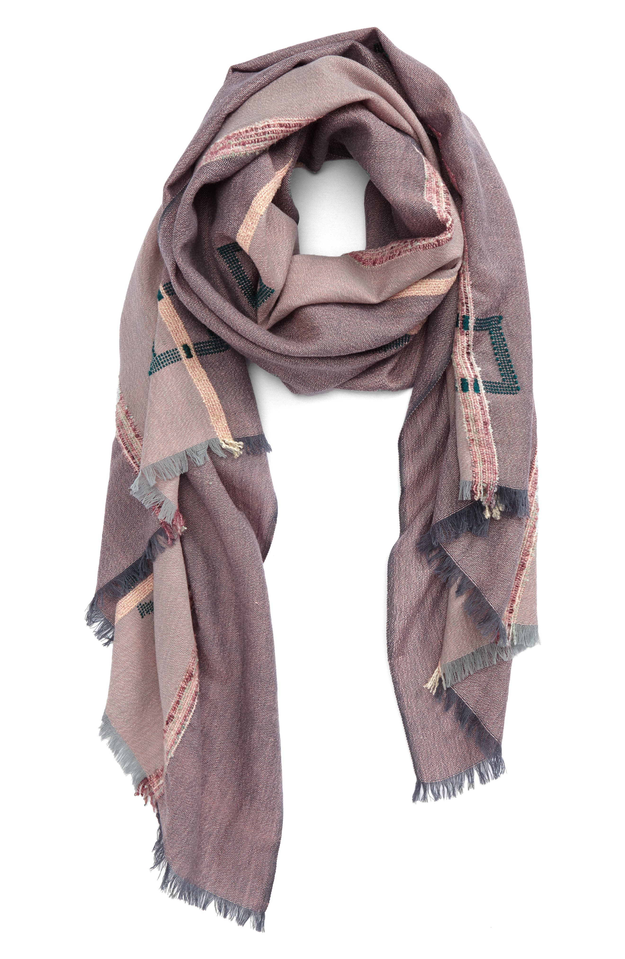 Textured Geo Scarf,                         Main,                         color, Pink/ Green Multi