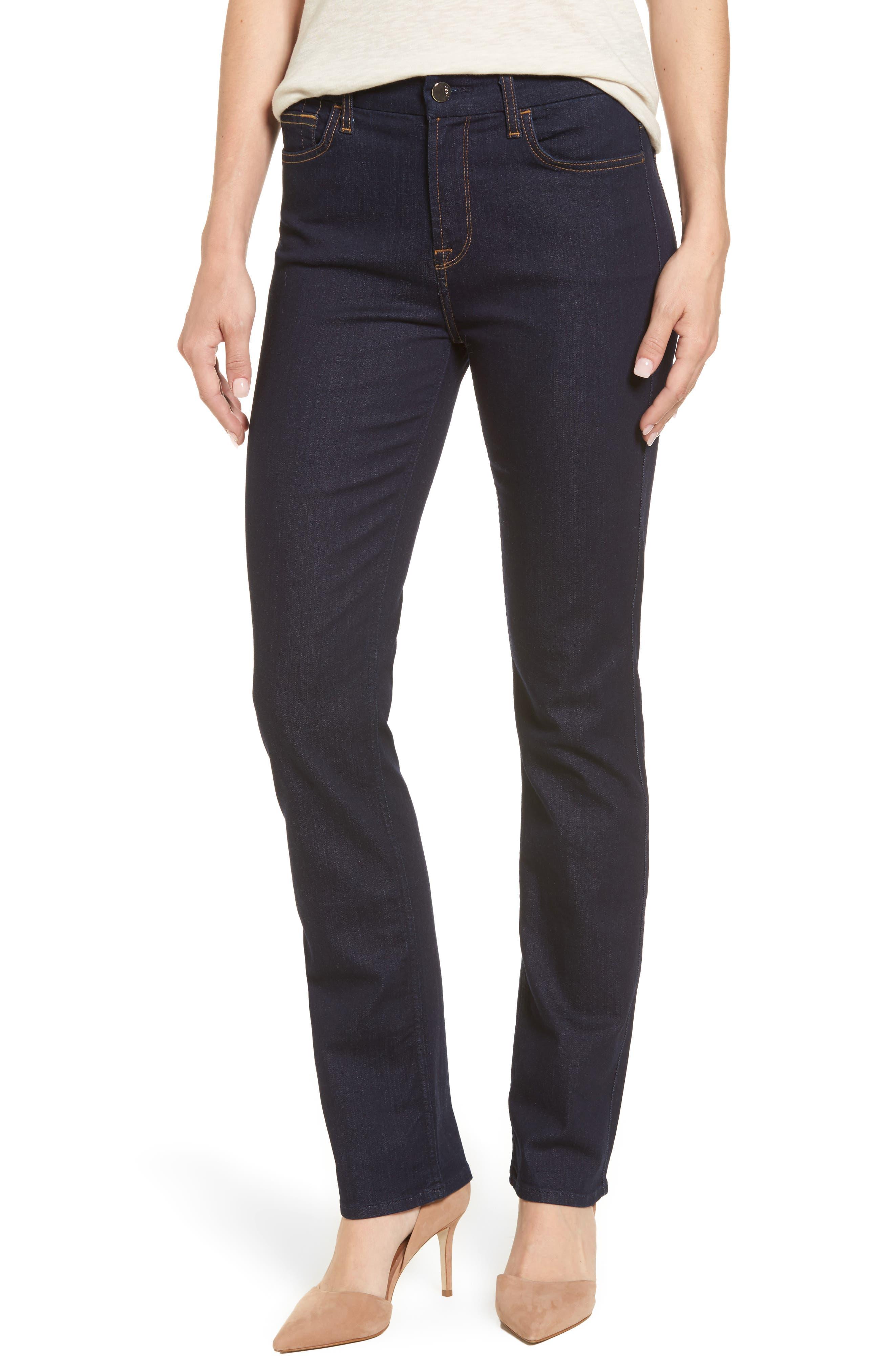 Main Image - Jen7 Stretch Slim Straight Leg Jeans (Riche Touch Estancia Blue)