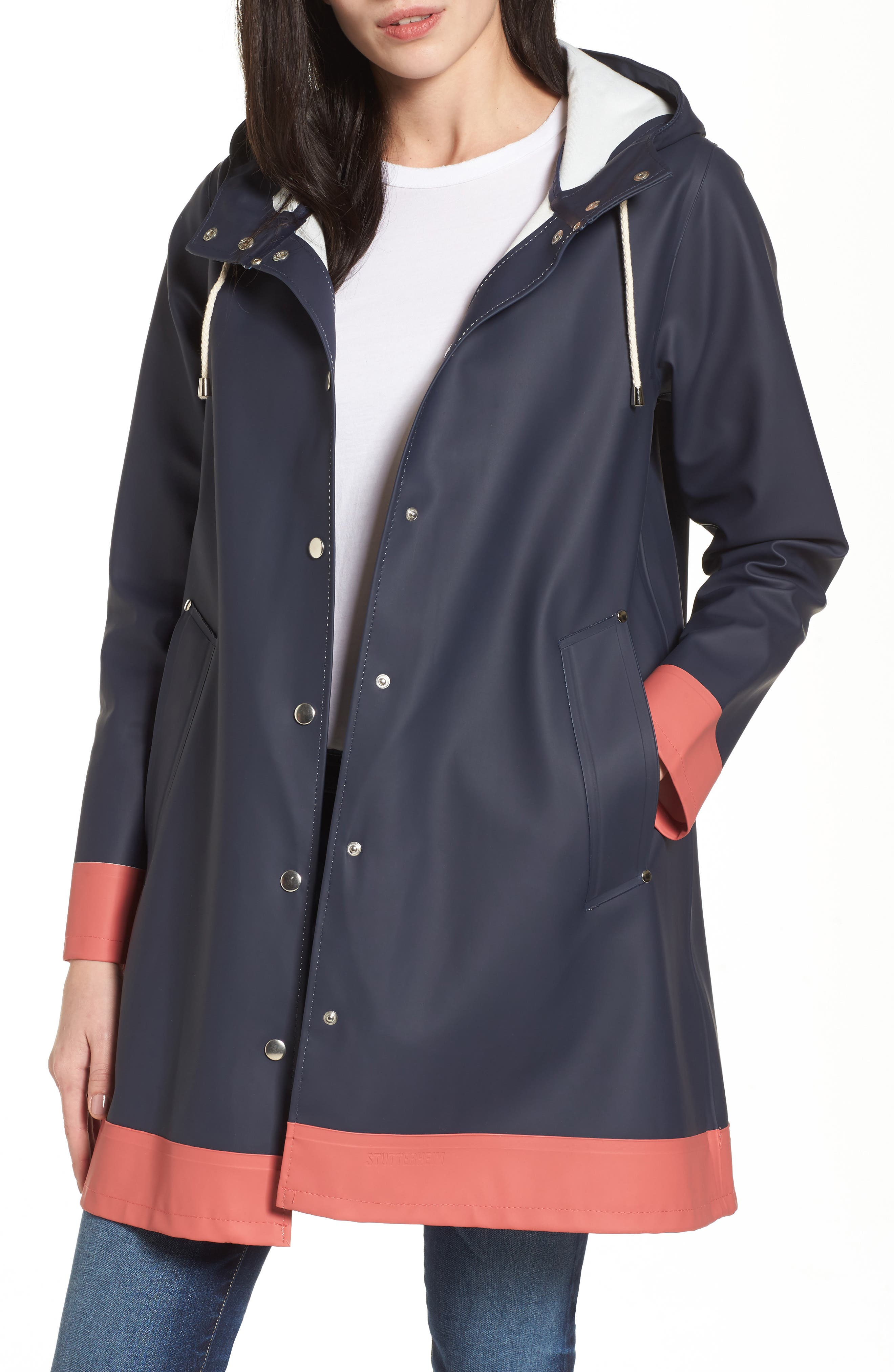 Mosebacke Frame Colorblock Raincoat,                             Main thumbnail 1, color,                             Navy/ Faded Rose
