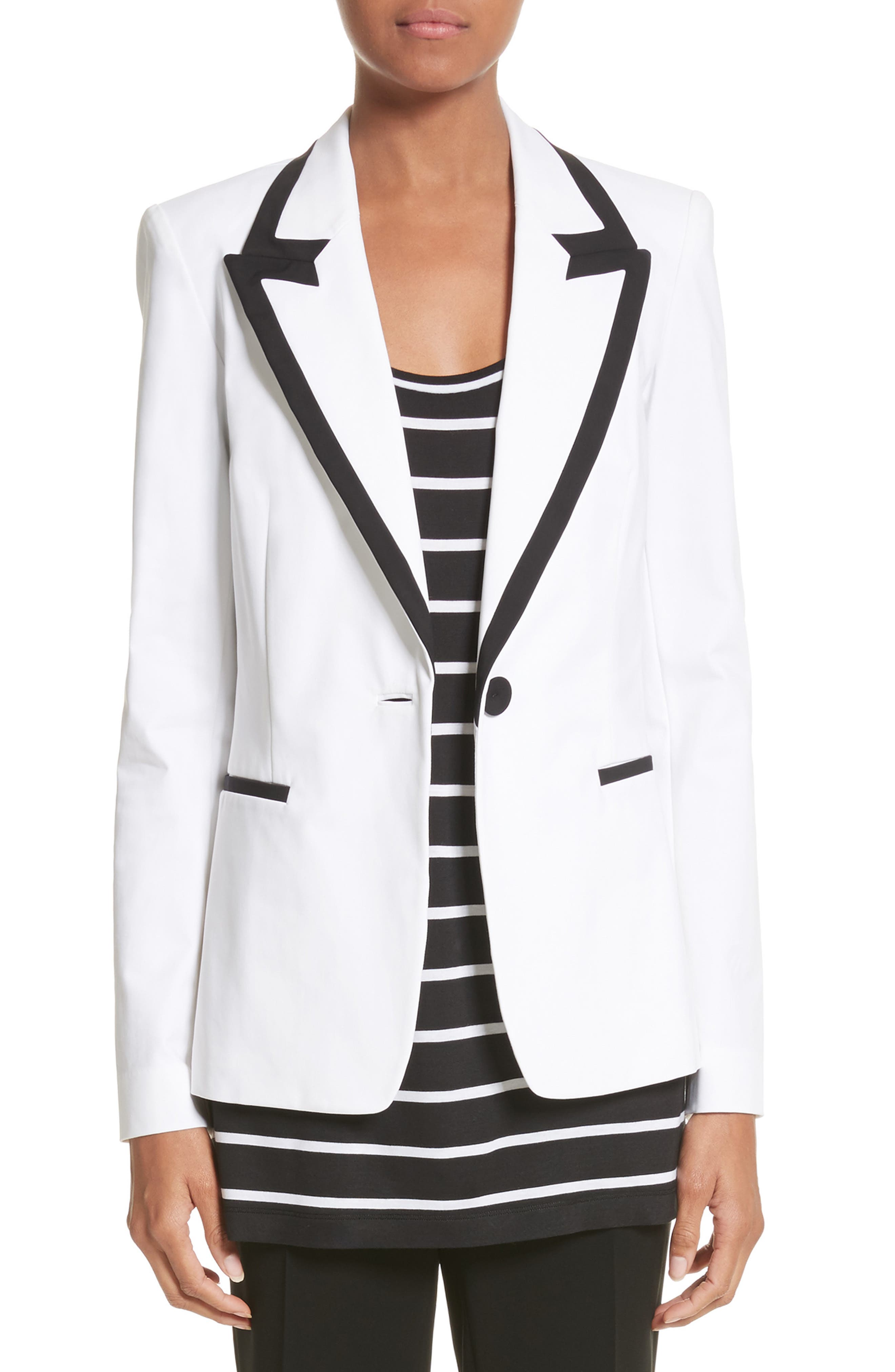 Briley Cotton Blend Blazer,                             Main thumbnail 1, color,                             White