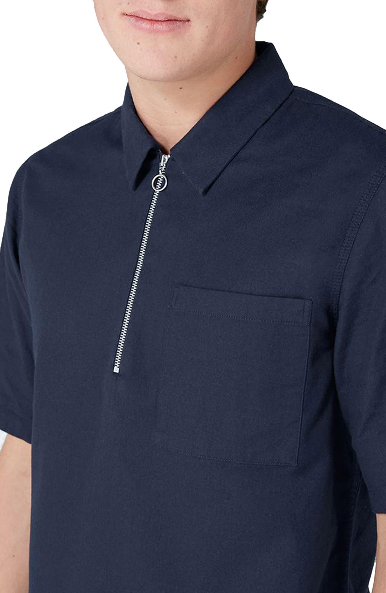 Modern Fit Zip Shirt,                             Alternate thumbnail 3, color,                             Navy