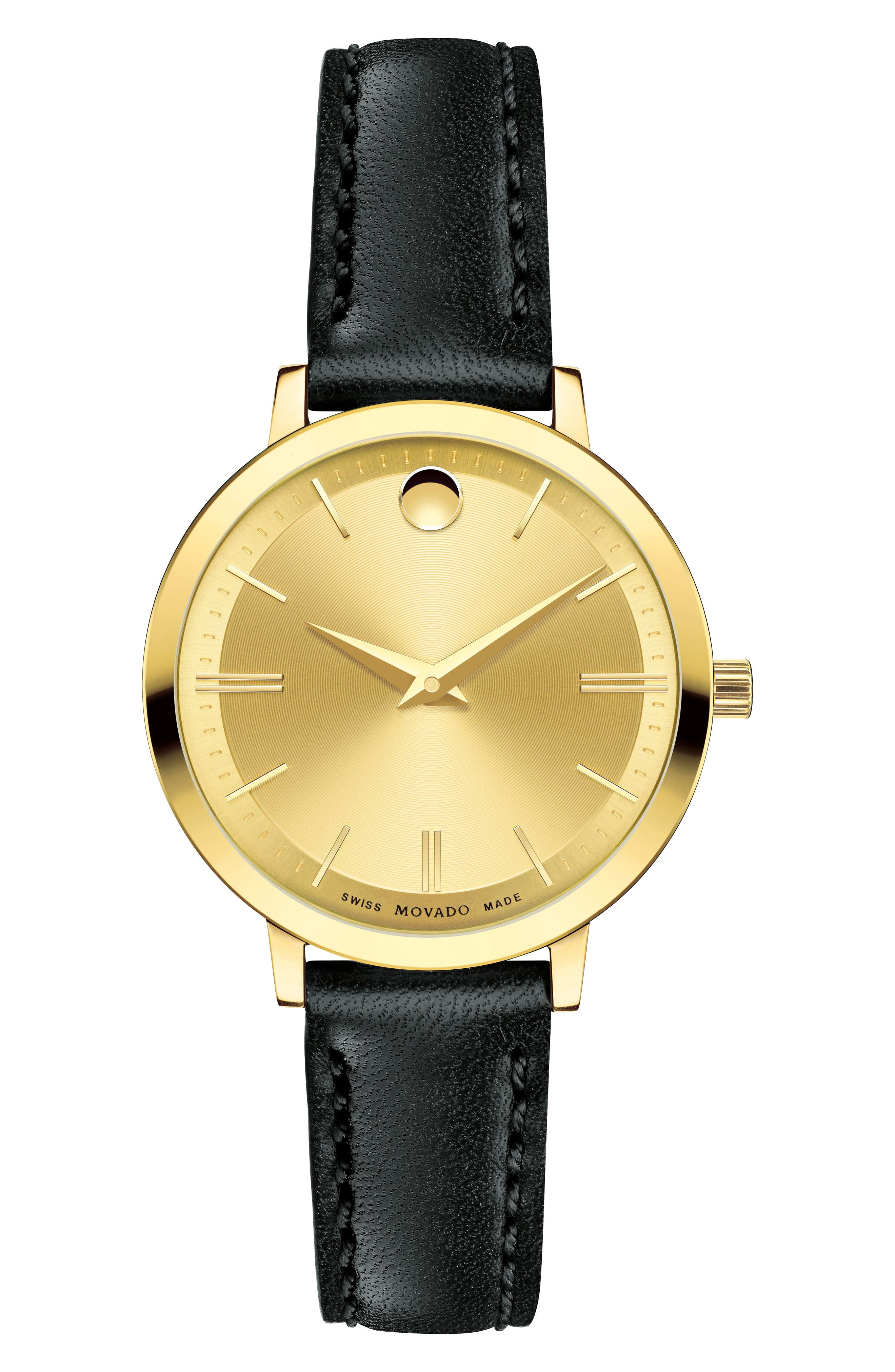 Movado Ultra Slim Leather Strap Watch, 28mm