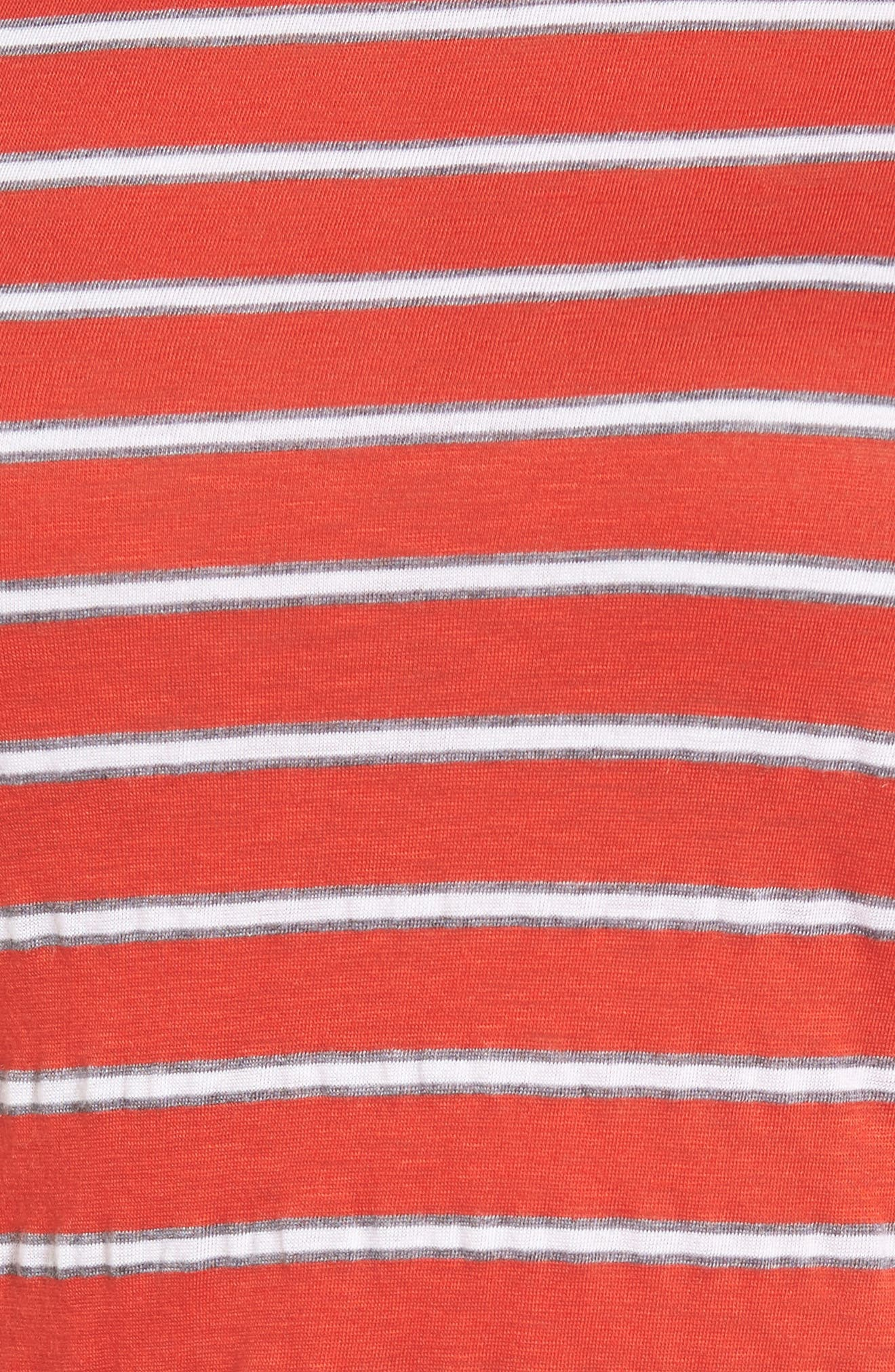 Stripe Ruched Dress,                             Alternate thumbnail 5, color,                             Rouge