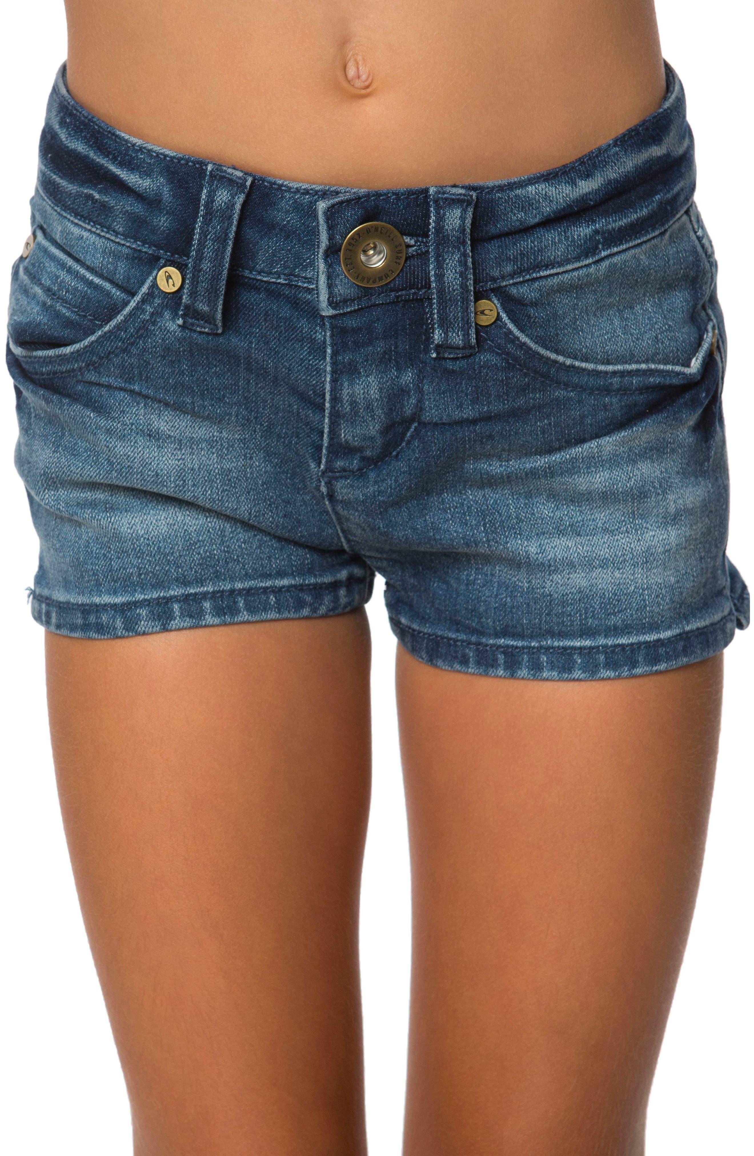 Minnie Denim Shorts,                         Main,                         color, Mystic Was