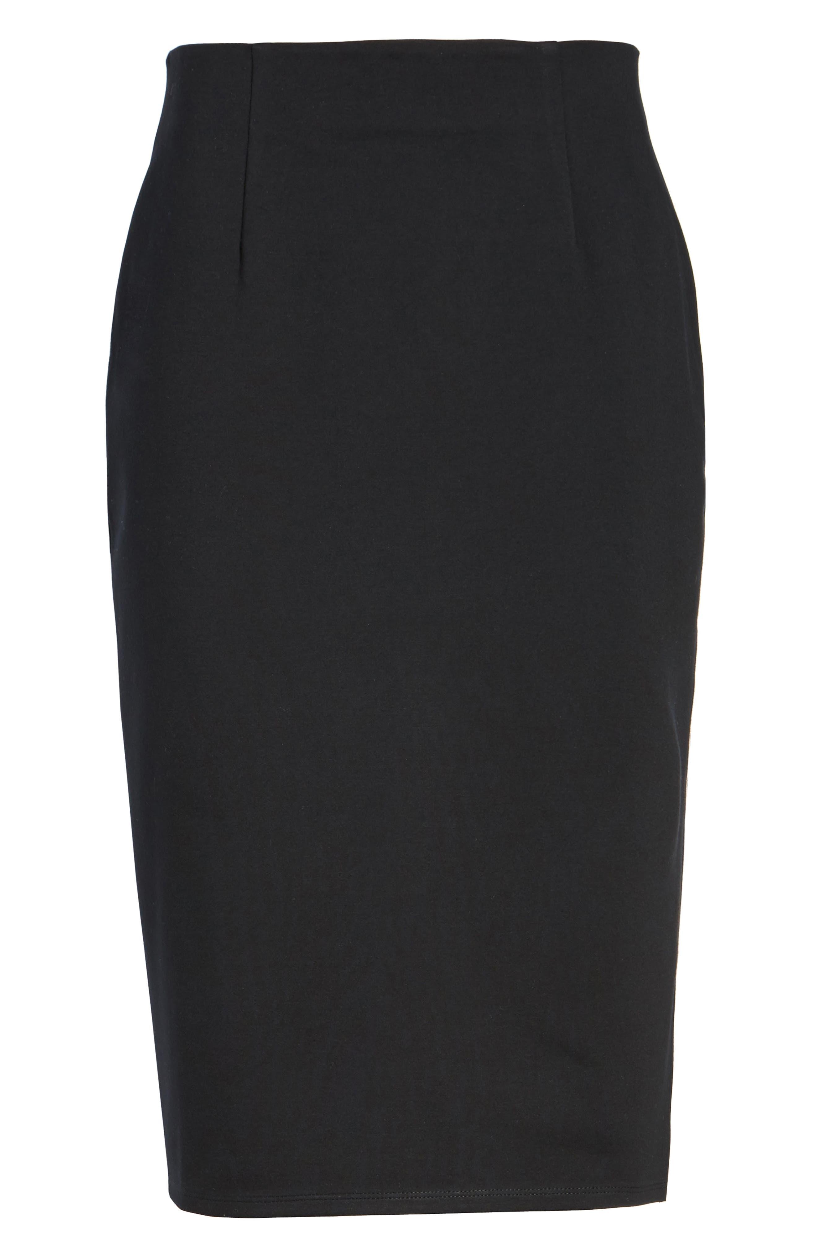 High Waist Knit Skirt,                             Alternate thumbnail 6, color,                             Black
