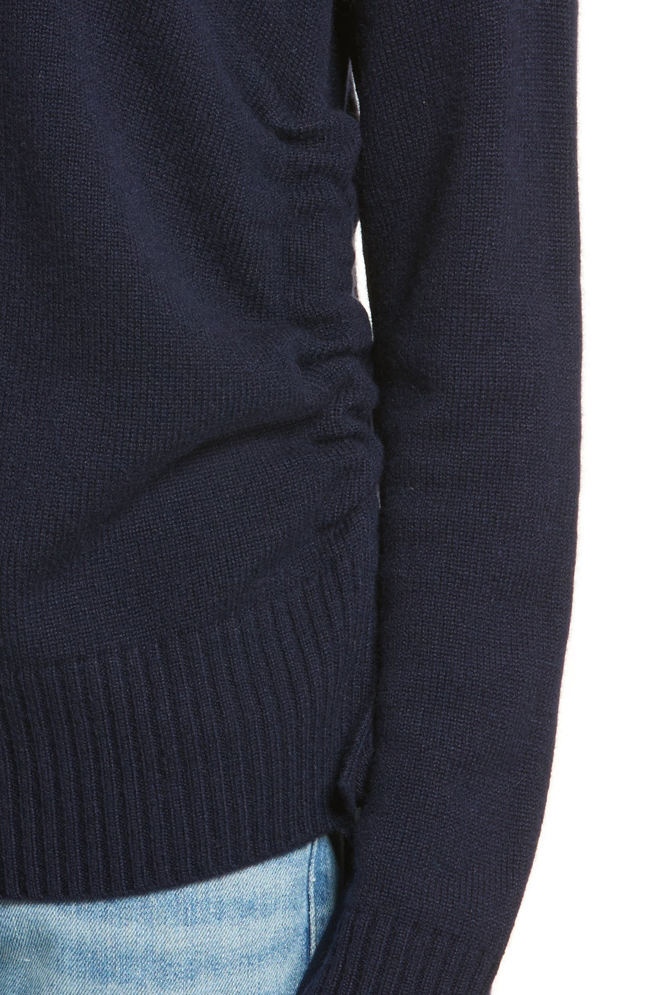 Side Tie Cashmere Sweater,                             Alternate thumbnail 4, color,                             Midnight