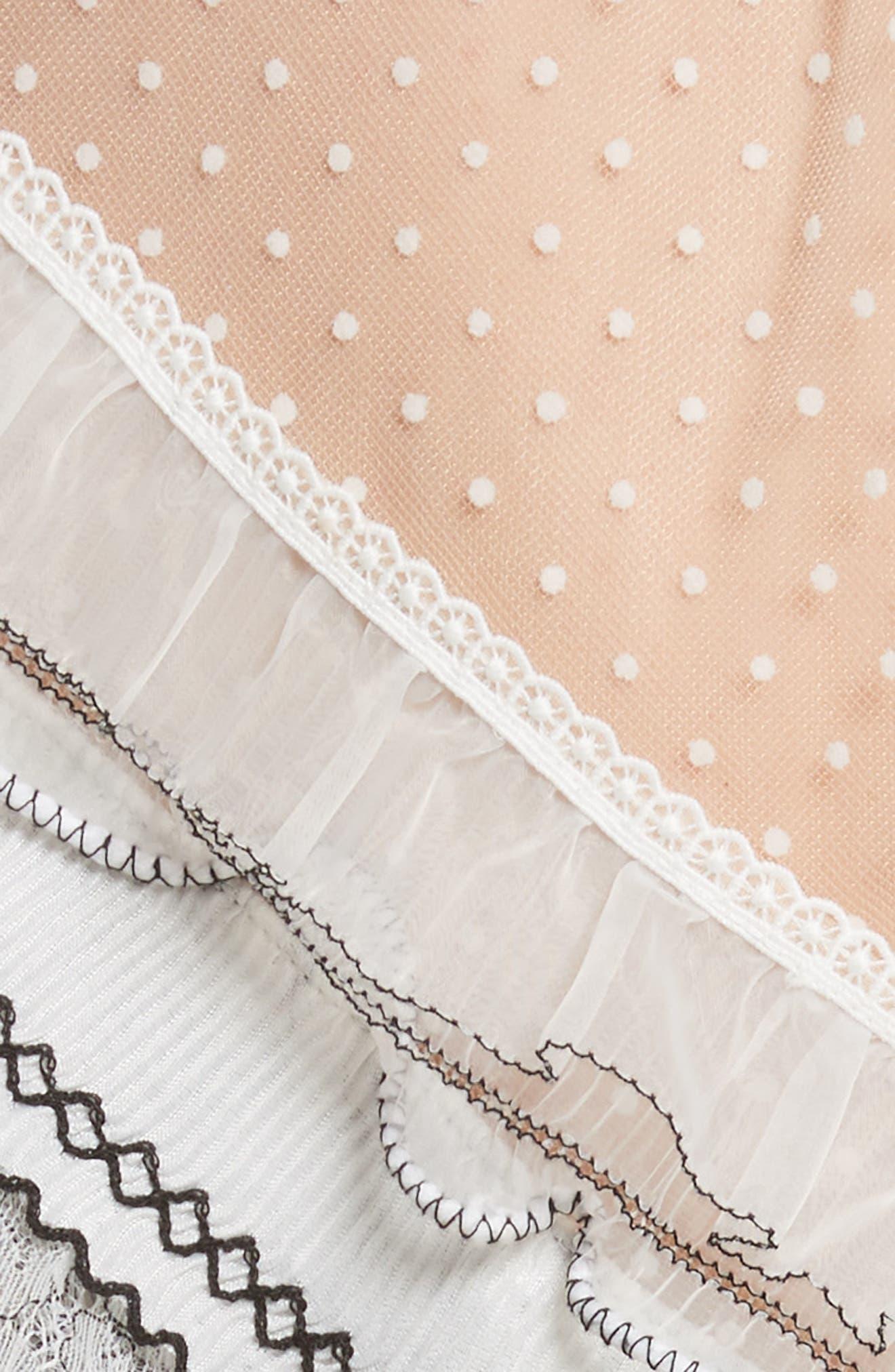 Pleated Lace Trim Minidress,                             Alternate thumbnail 5, color,                             Ivory