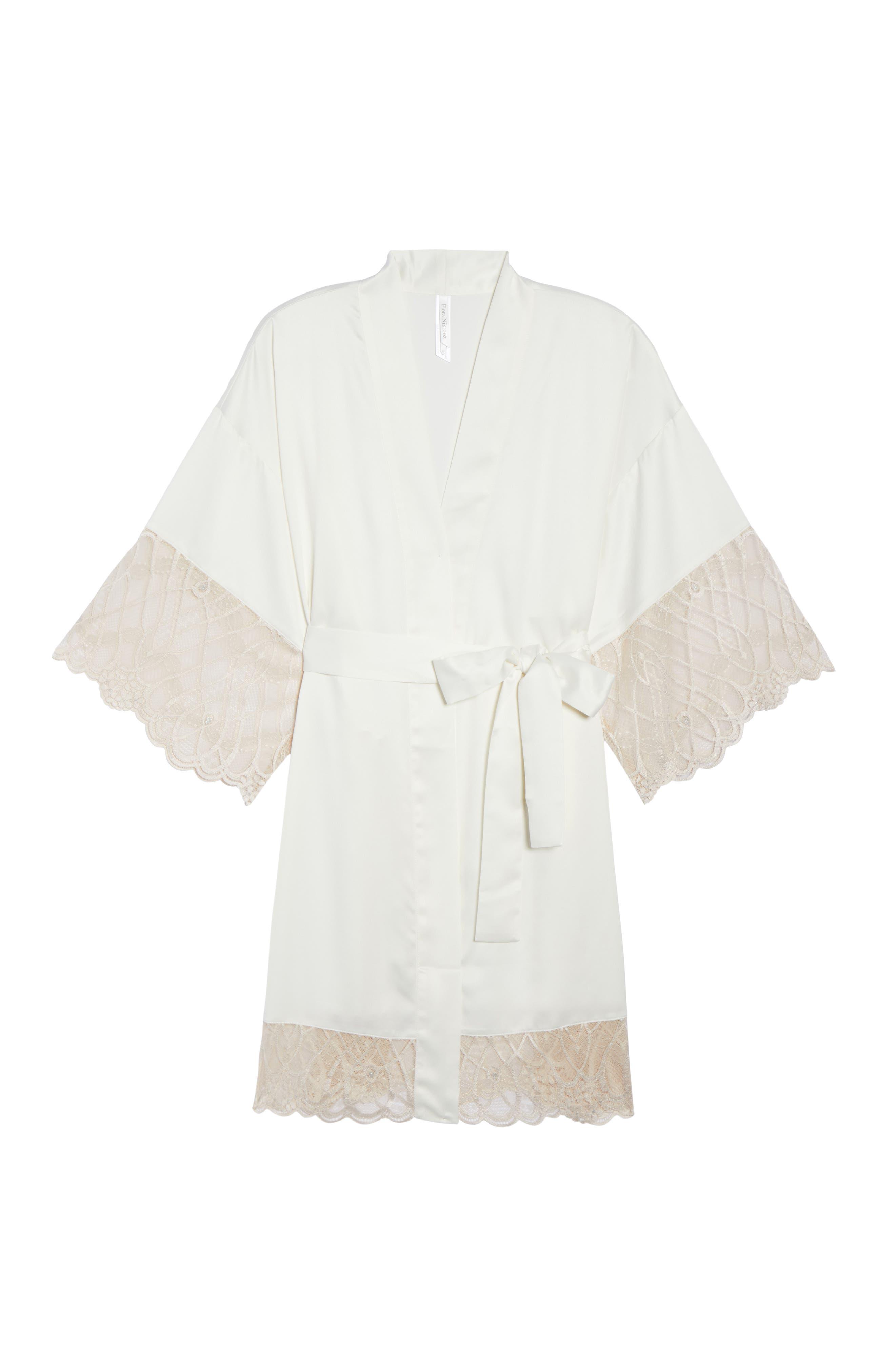 Gabby Satin Kimono Robe,                             Alternate thumbnail 4, color,                             Ivory