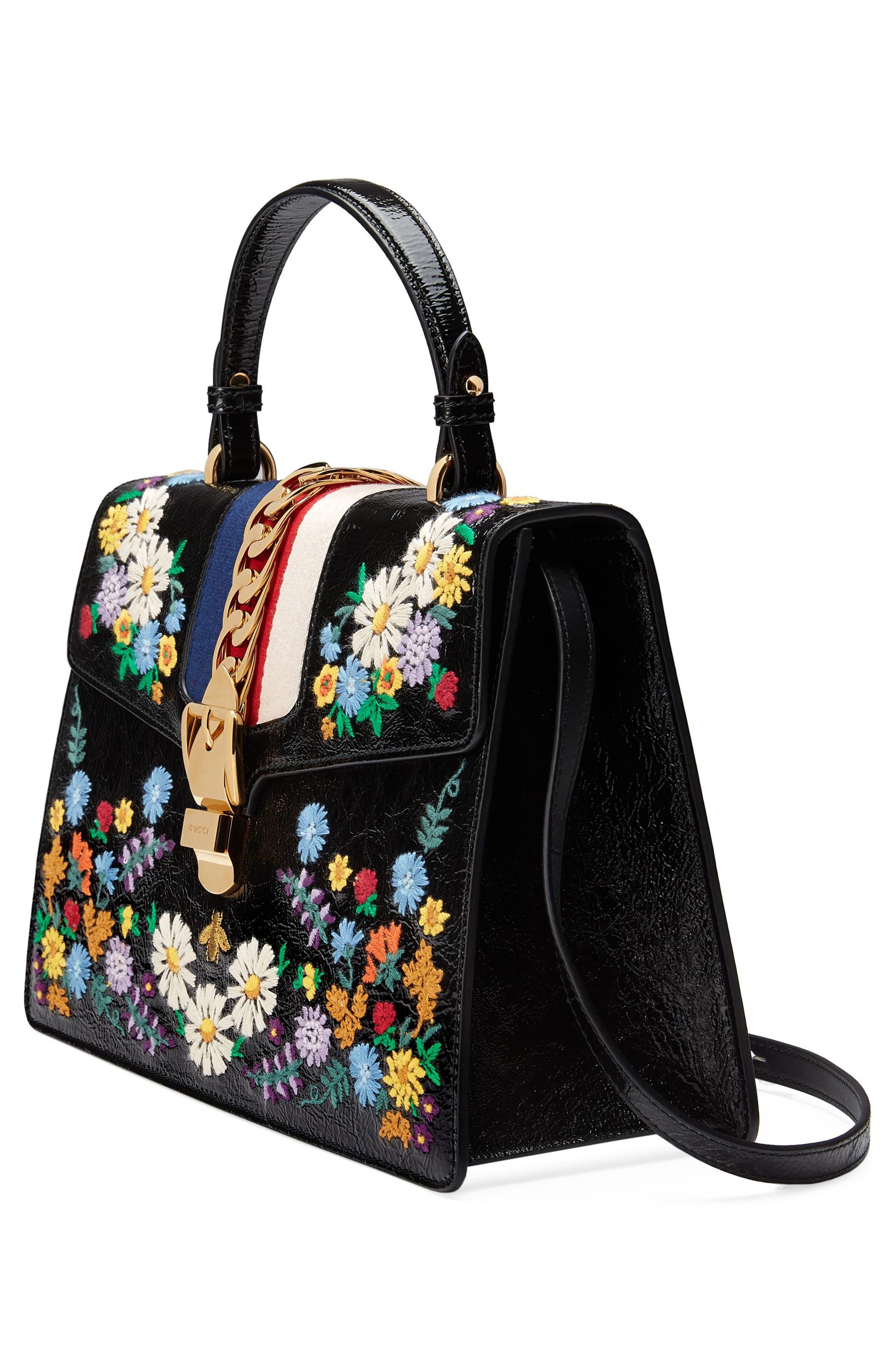 Medium Sylvie Floral Embroidered Top Handle Leather Shoulder Bag,                             Alternate thumbnail 4, color,                             Nero Multi