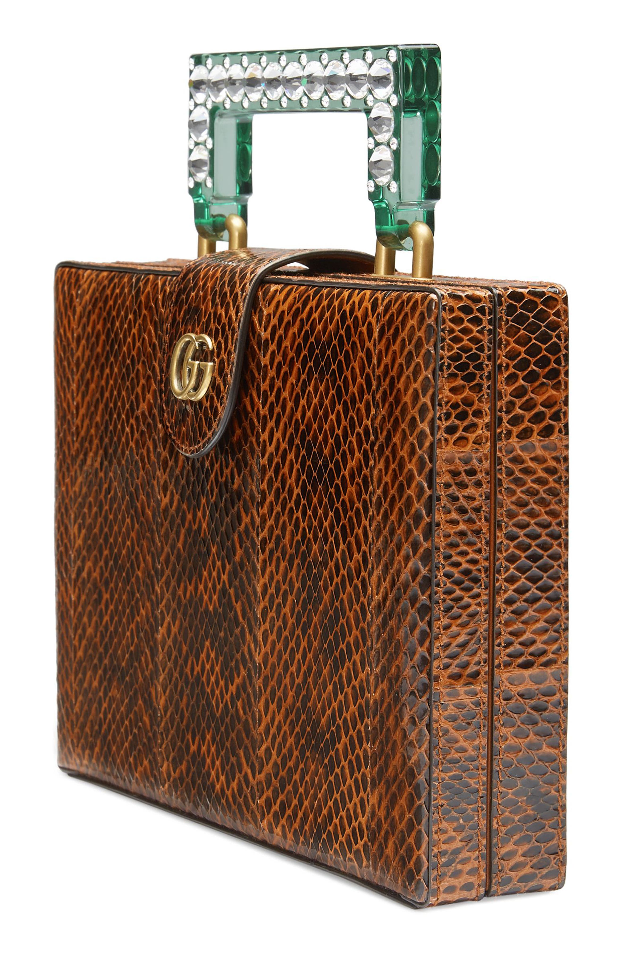Broadway Genuine Snakeskin Box Clutch,                             Alternate thumbnail 4, color,                             Bright Cuir/ Verde Crystal