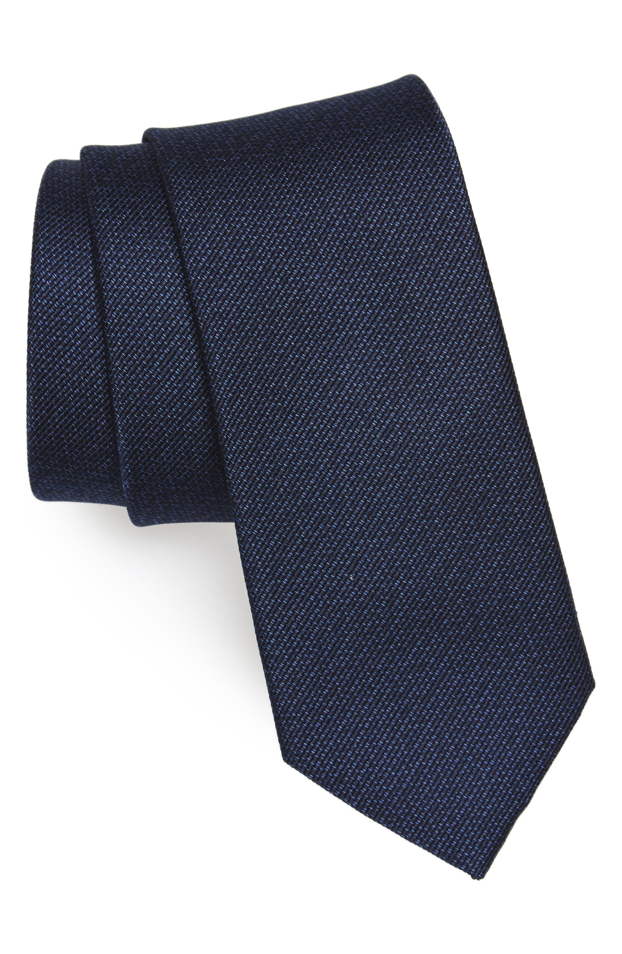 Mesa Solid Silk Tie,                         Main,                         color, Navy