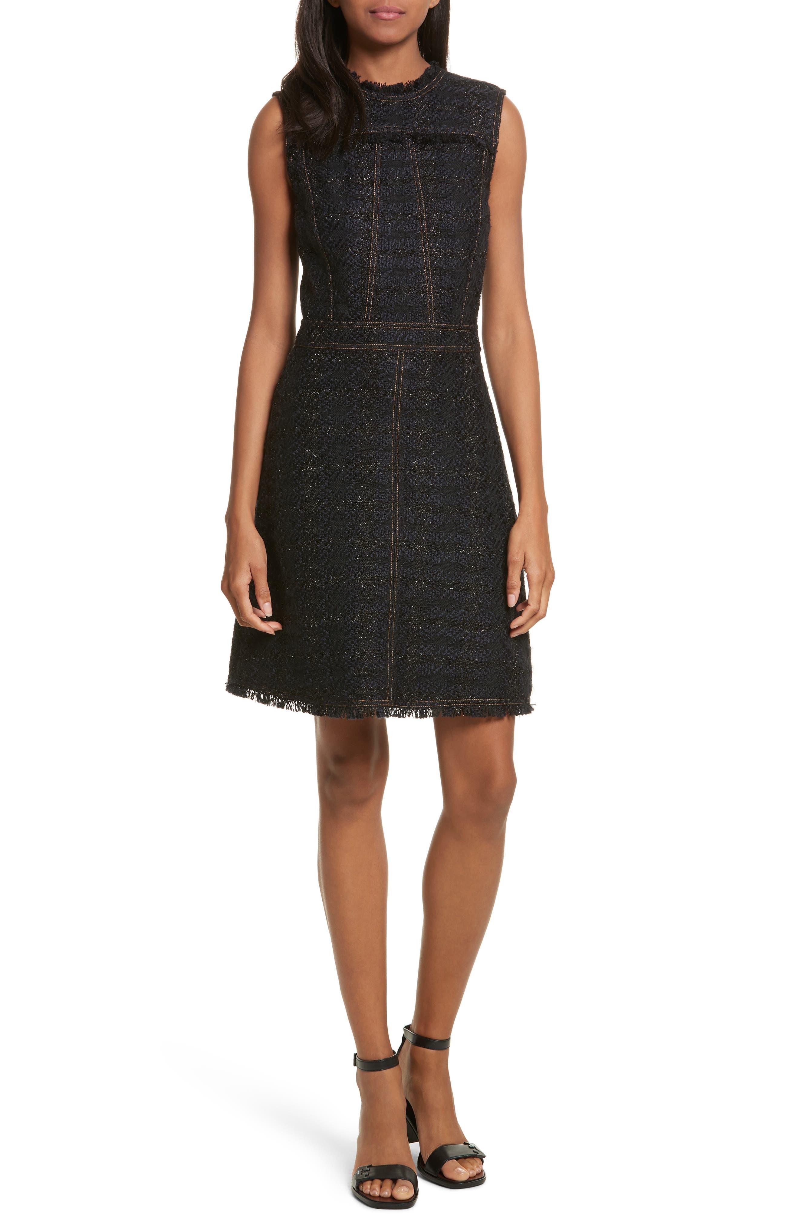 Aria Tweed Sheath Dress,                         Main,                         color, Black/ Black Metal Check Tweed