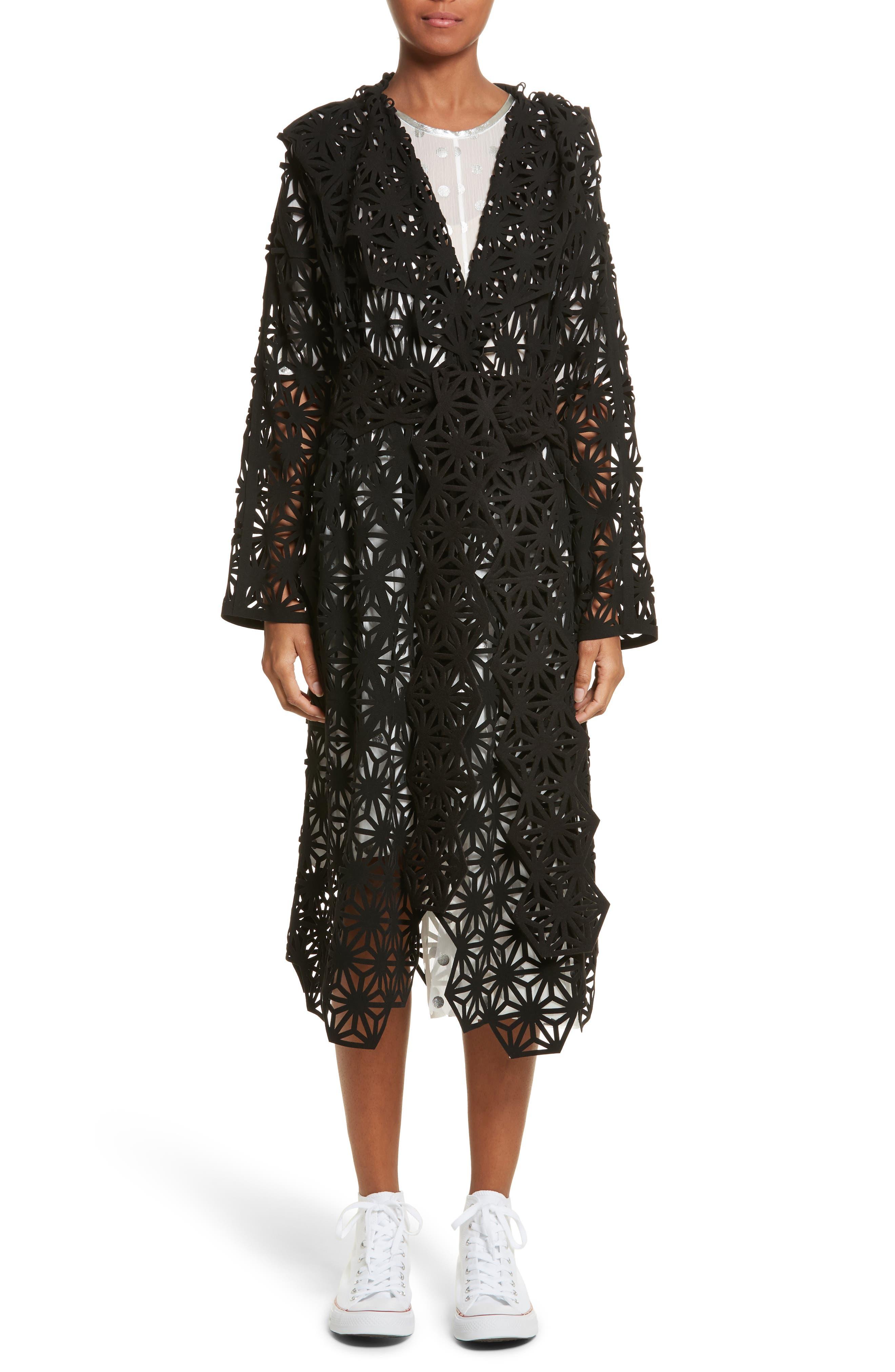 Laser Cut Hooded Coat,                         Main,                         color, Black