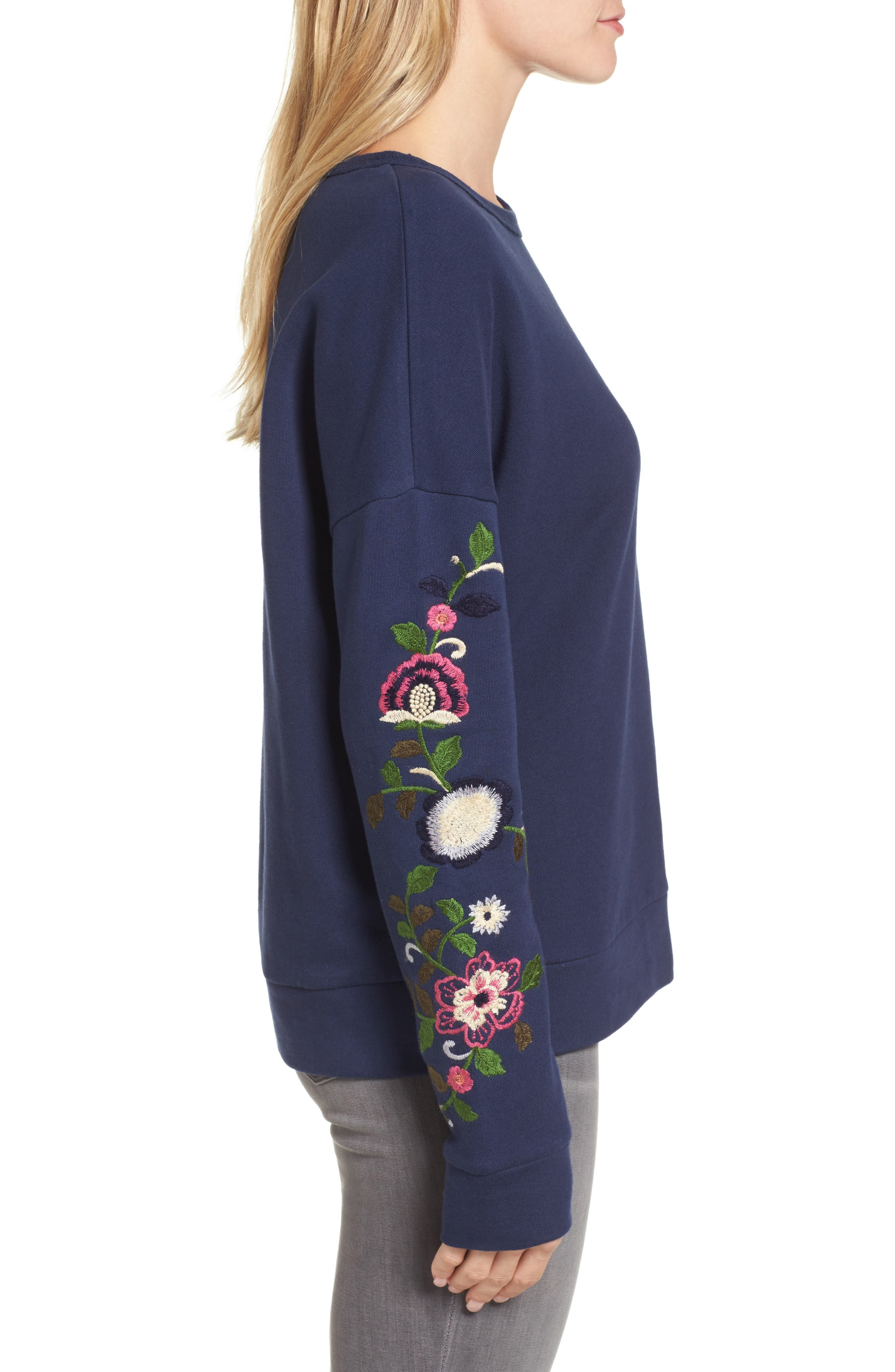 Embroidered Sleeve Sweatshirt,                             Alternate thumbnail 3, color,                             Navy- Rose Floral