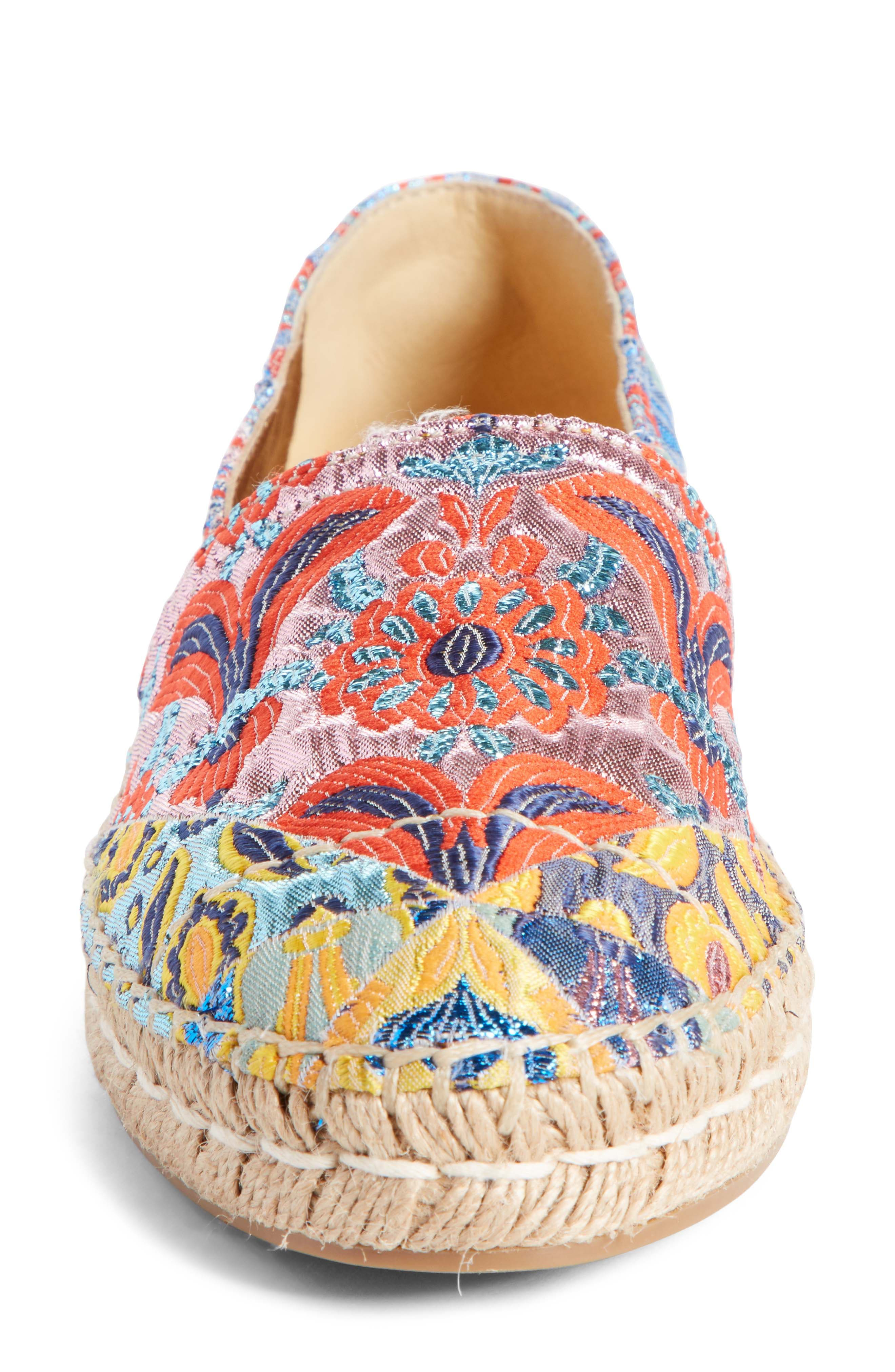 Floral Embroidered Espadrille Flat,                             Alternate thumbnail 3, color,                             Pink Multi