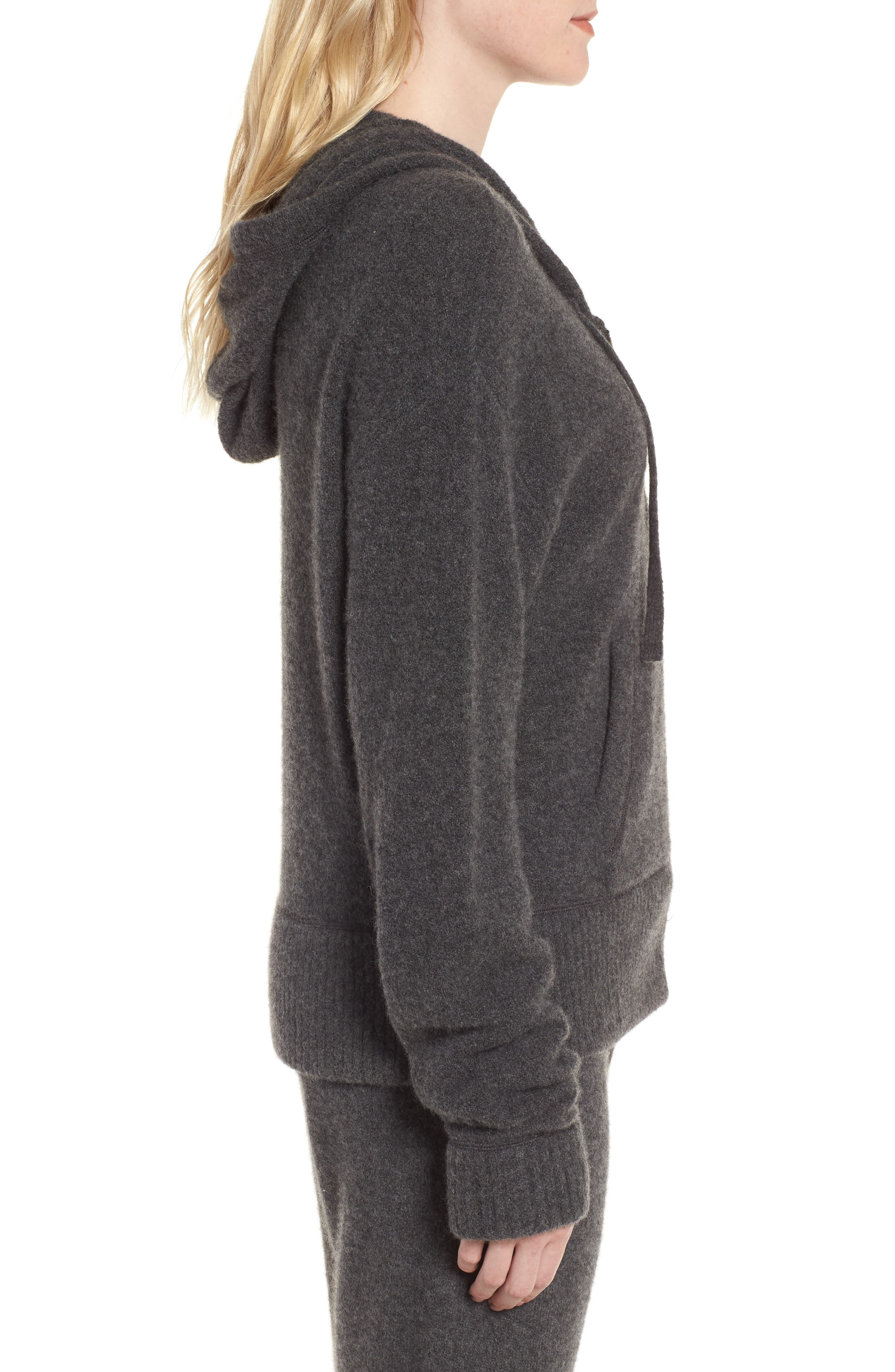 Brushed Cashmere Zip Hoodie,                             Alternate thumbnail 3, color,                             Charcoal