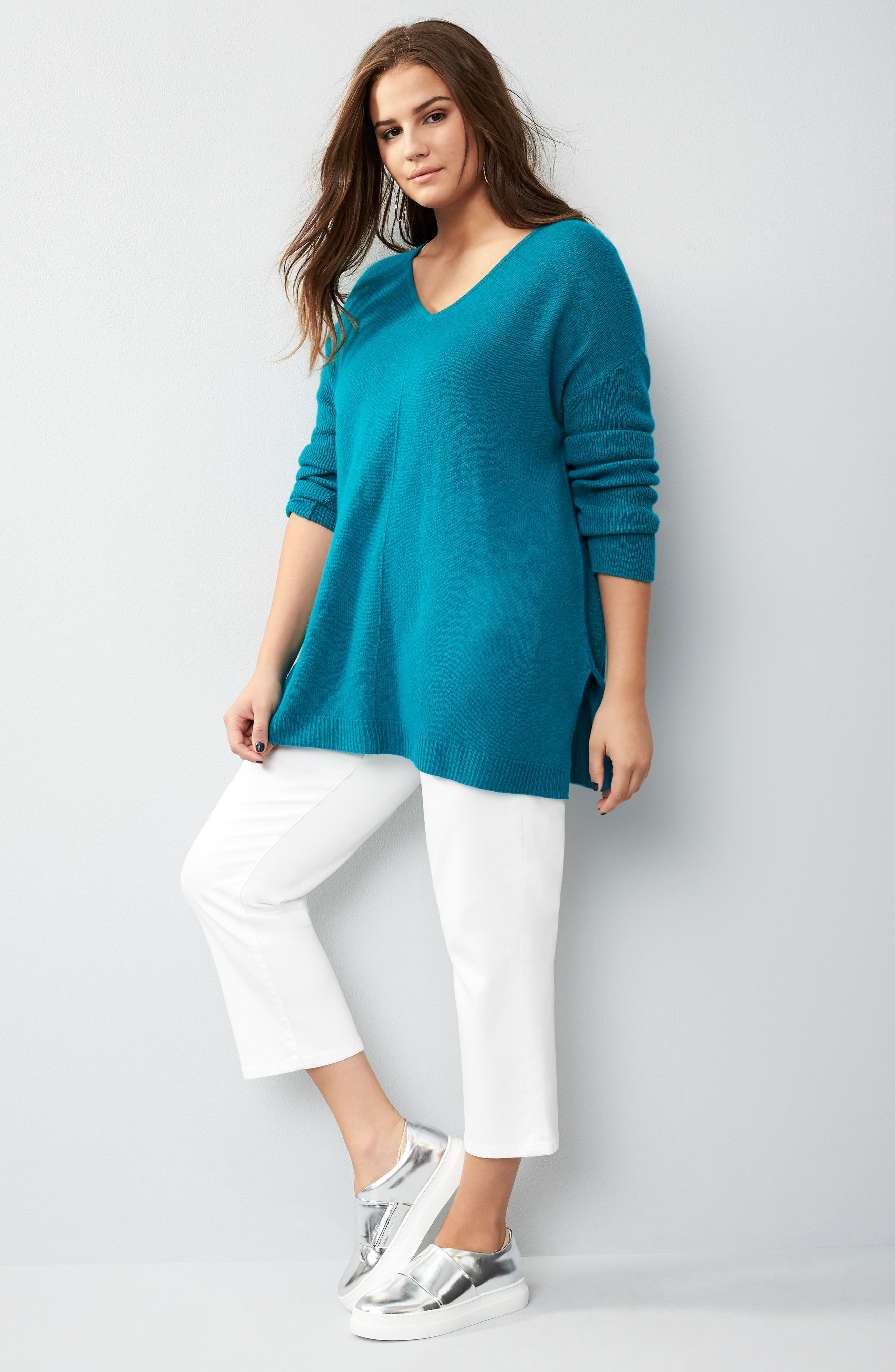 Alternate Image 7  - Sejour Easy V-Neck Wool & Cashmere Pullover (Plus Size)