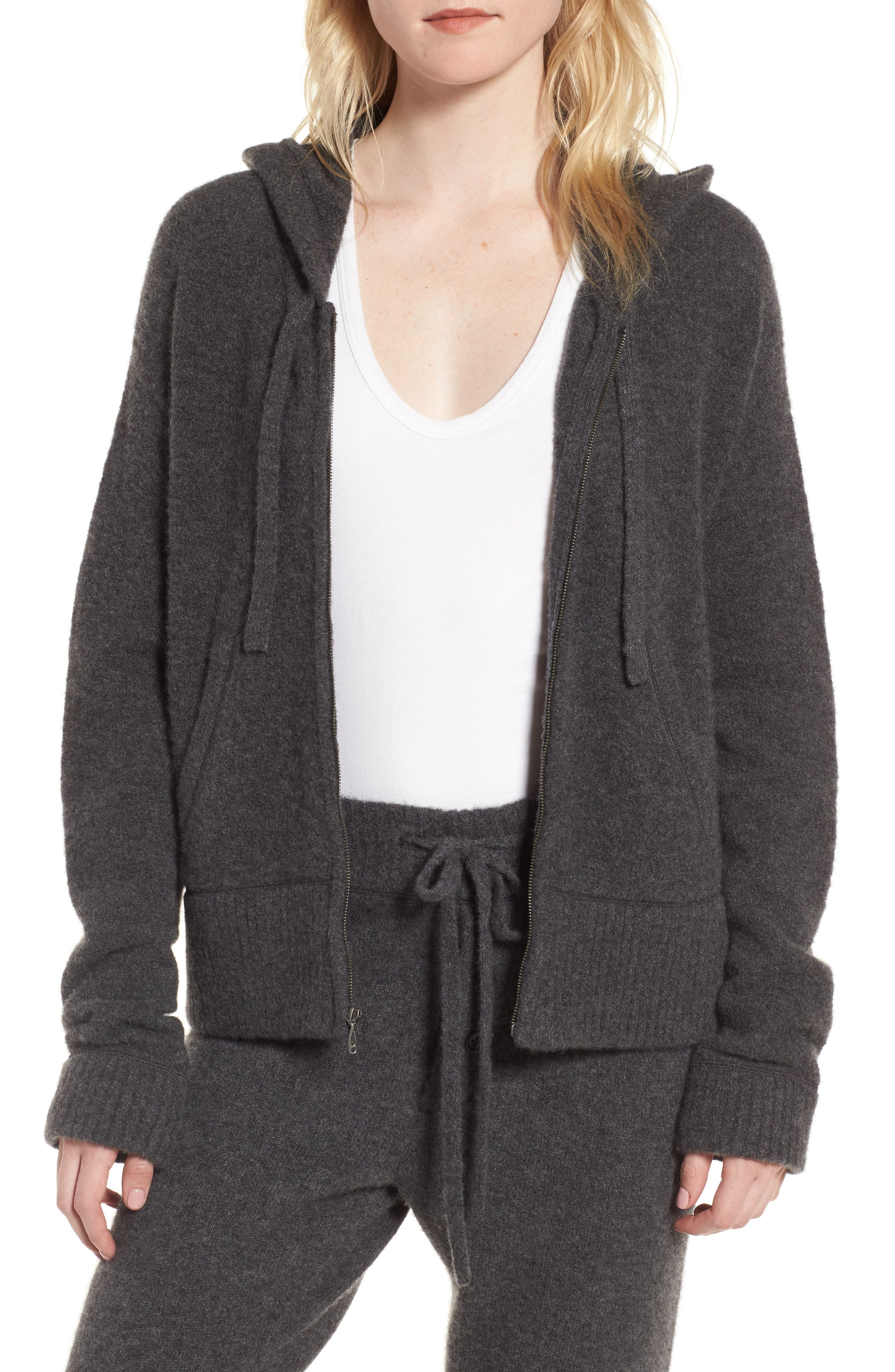 Brushed Cashmere Zip Hoodie,                             Main thumbnail 1, color,                             Charcoal