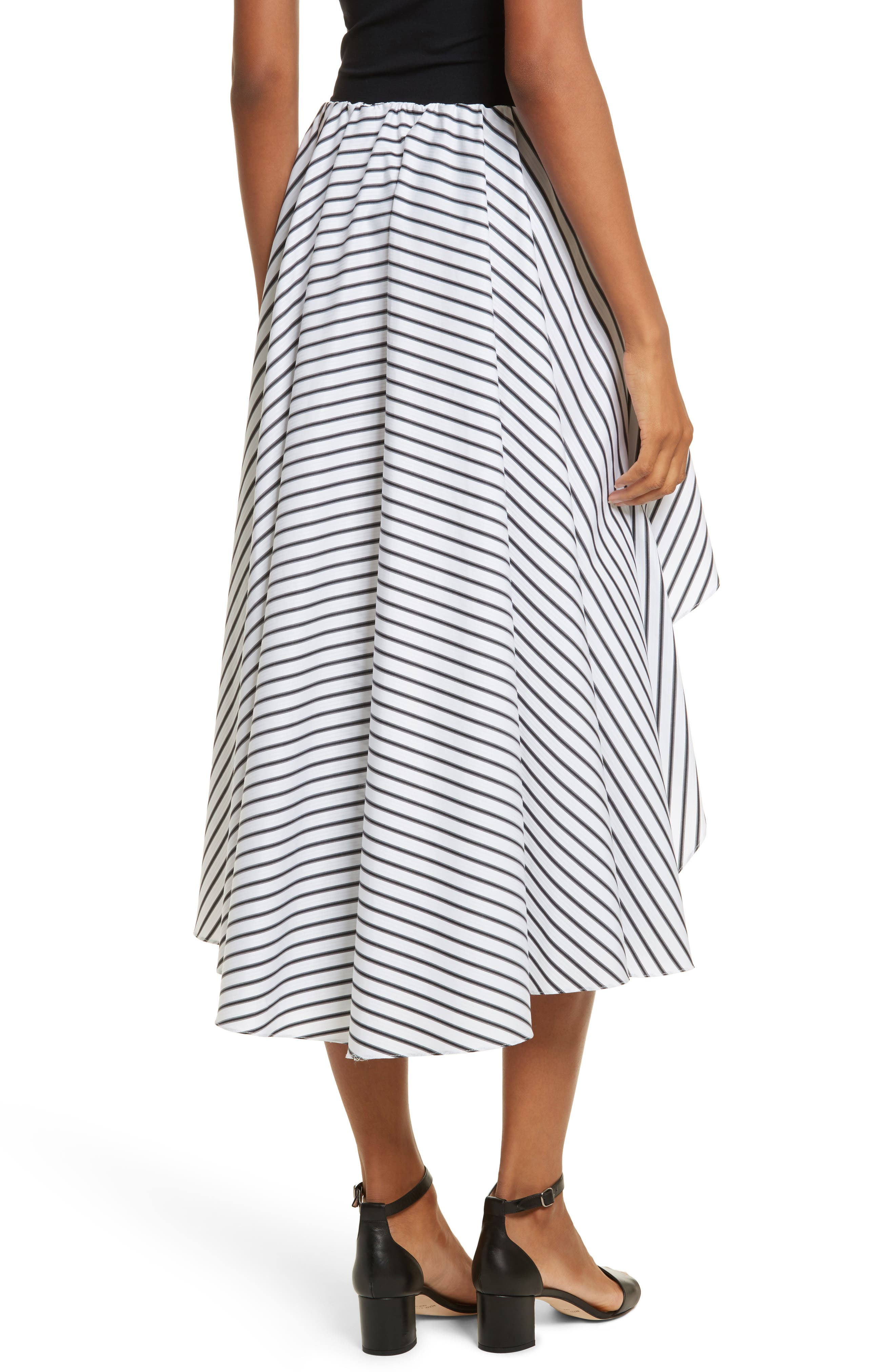Adelle High/Low Ruffle Skirt,                             Alternate thumbnail 2, color,                             White/ Black