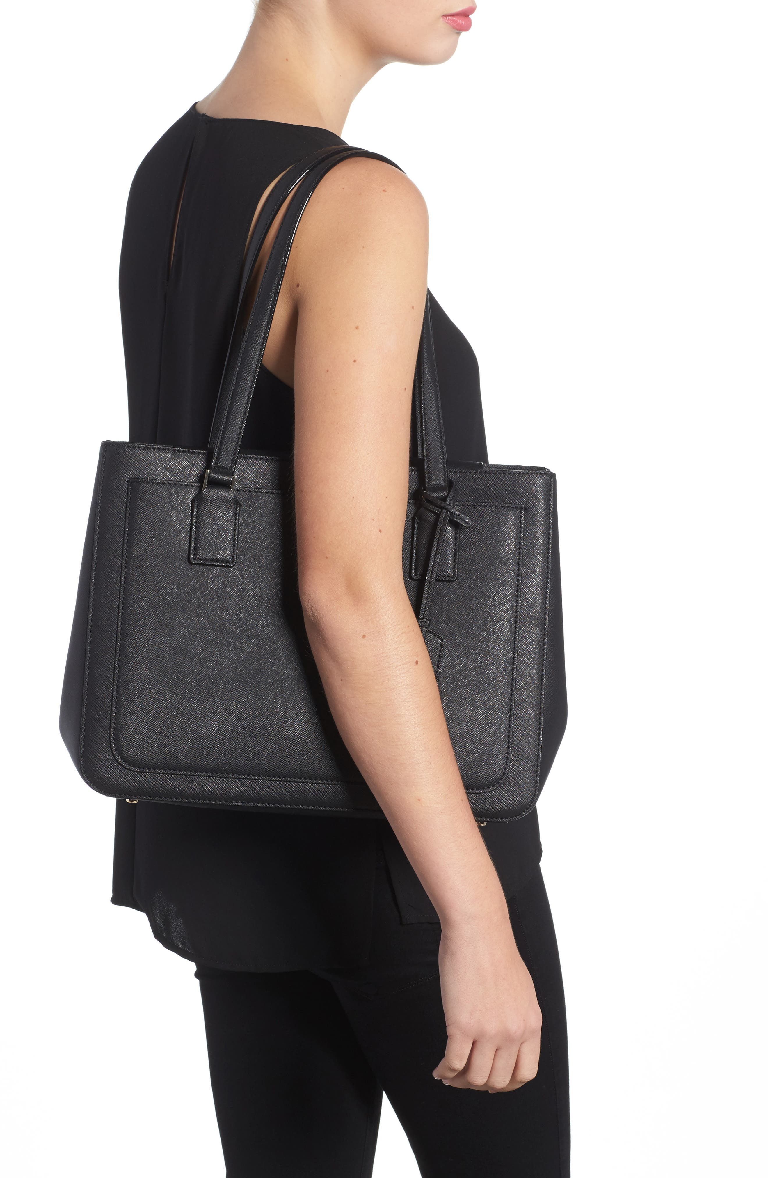 cameron street - zooey leather tote,                             Alternate thumbnail 2, color,                             Black