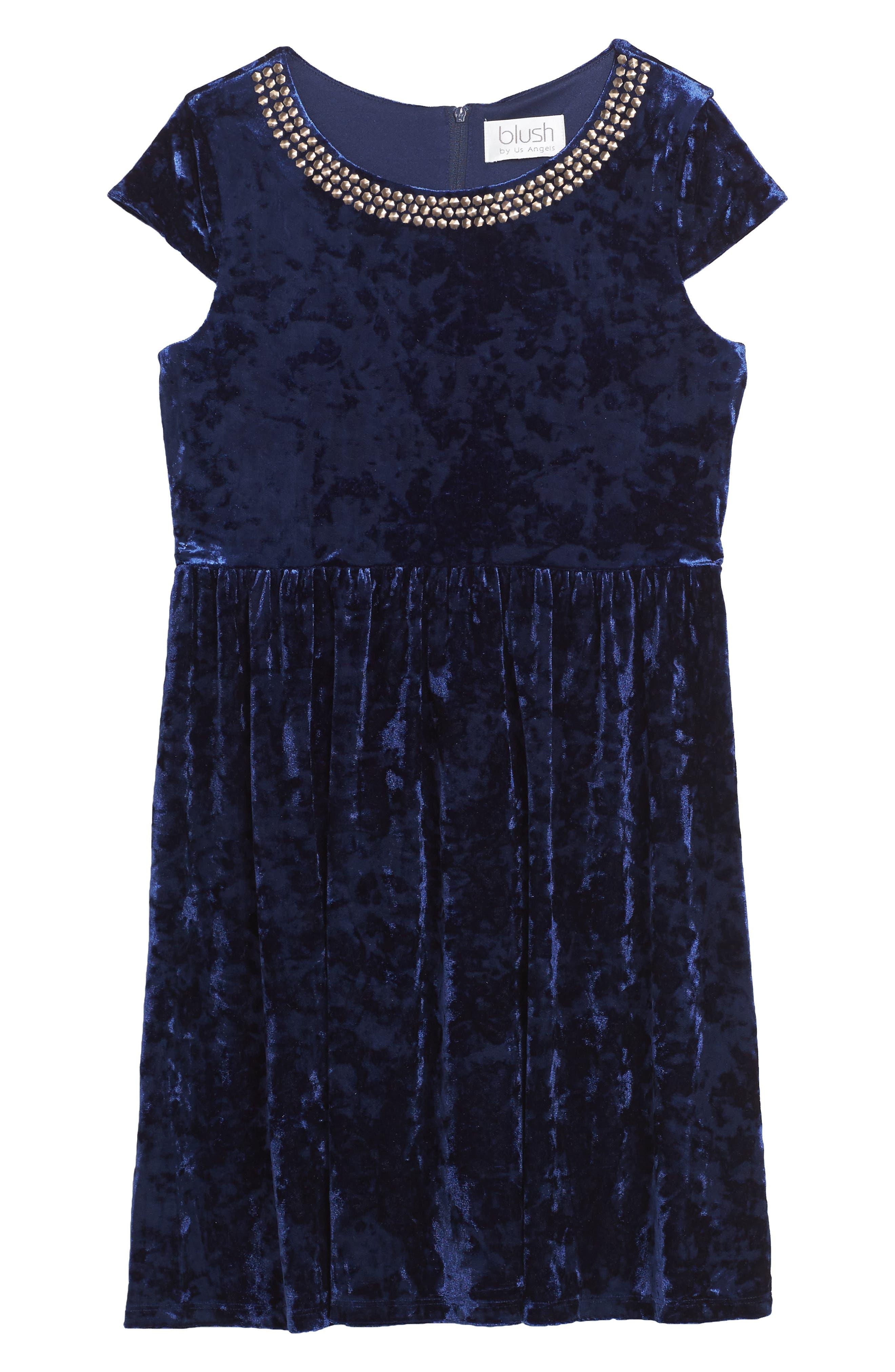 Main Image - BLUSH by Us Angels Velvet Dress (Big Girls)
