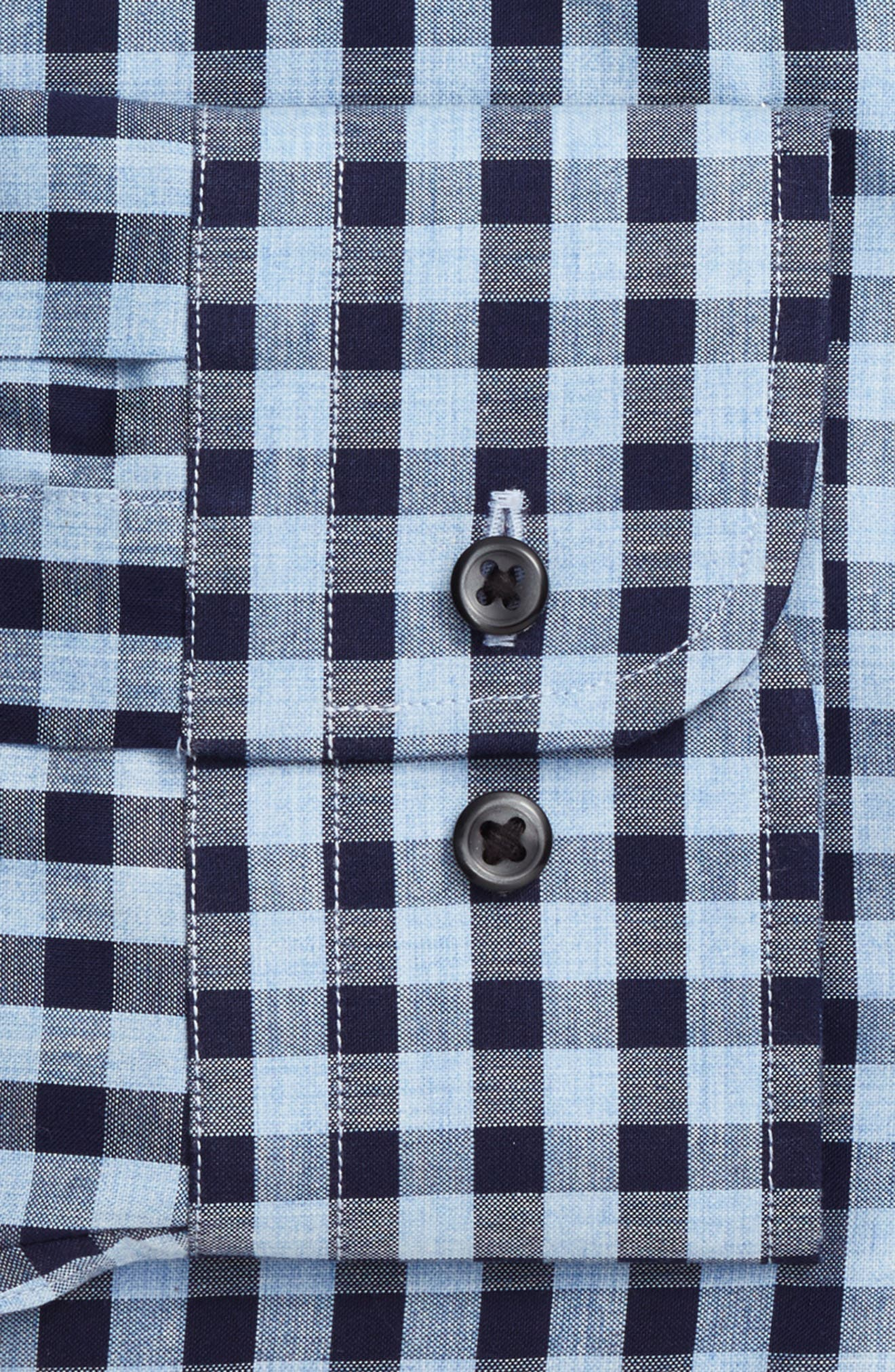 Trim Fit Check Dress Shirt,                             Alternate thumbnail 4, color,                             Navy Evening