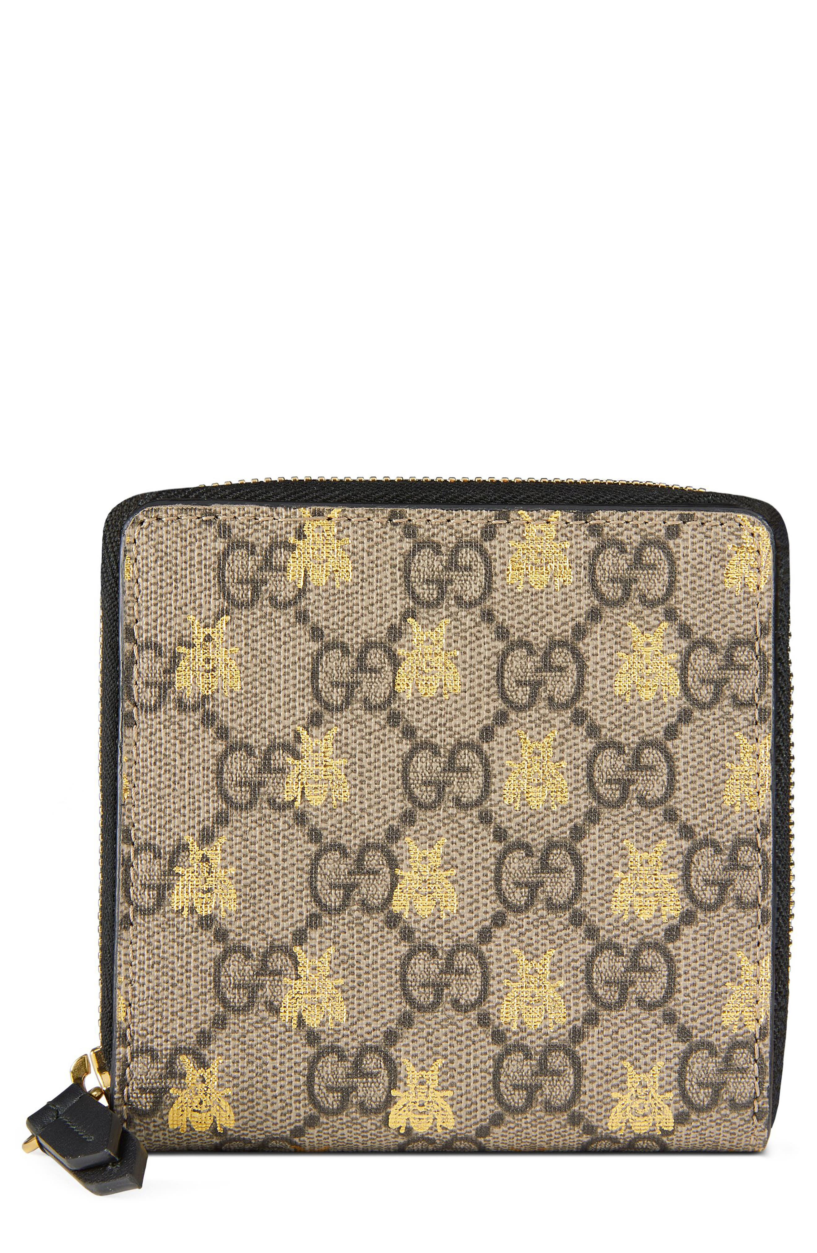 Bee GG Supreme French Wallet,                         Main,                         color, Beige Ebony Oro/ Nero