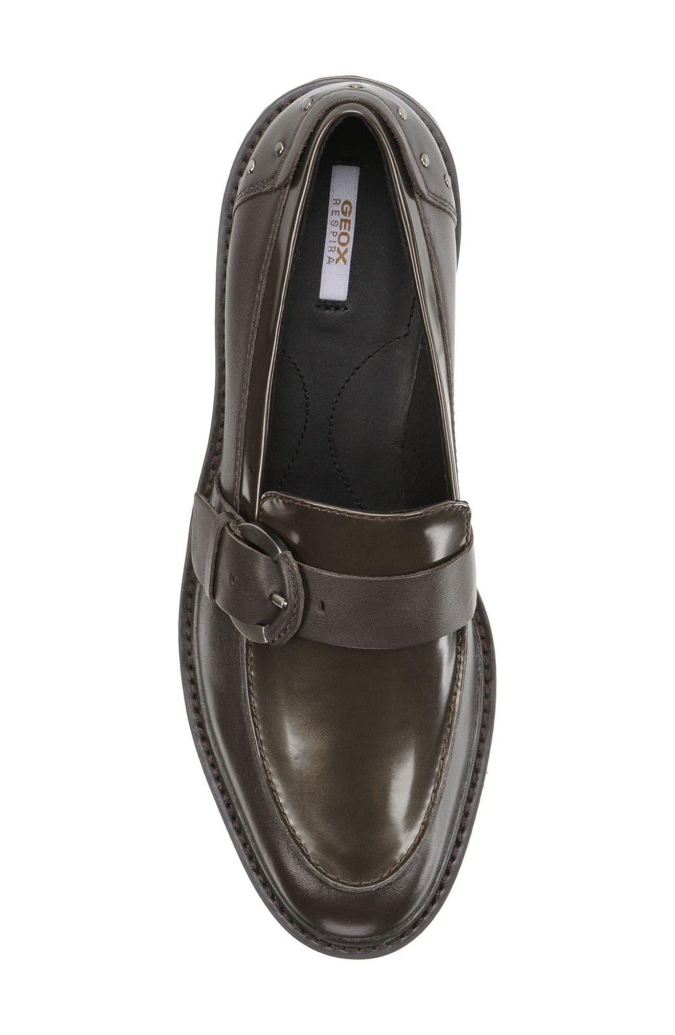 Quinlynn Loafer,                             Alternate thumbnail 5, color,                             Brown Leather