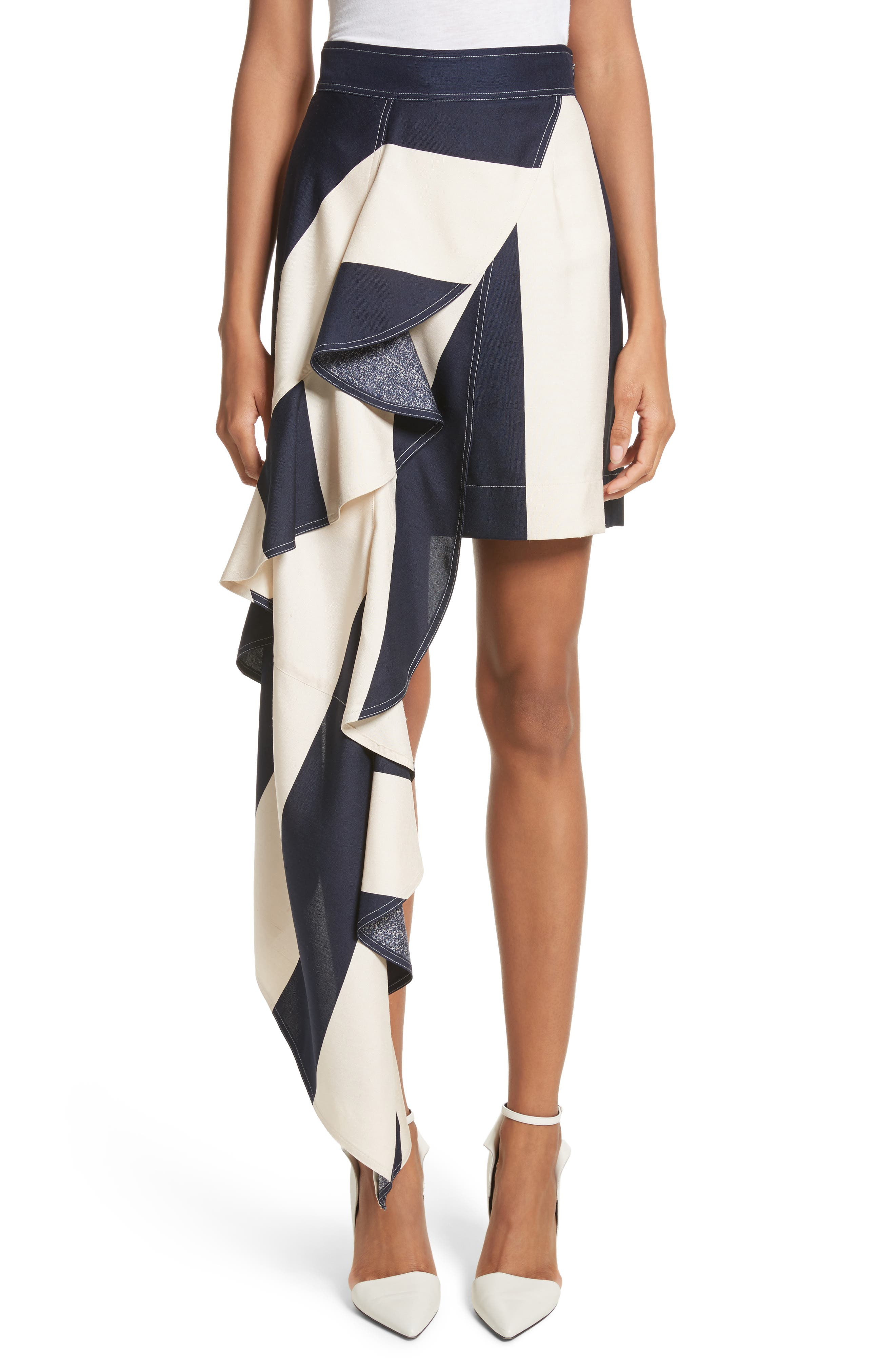Alternate Image 1 Selected - Calvin Klein 205W39NYC Flag Stripe Silk Shantung Drape Skirt