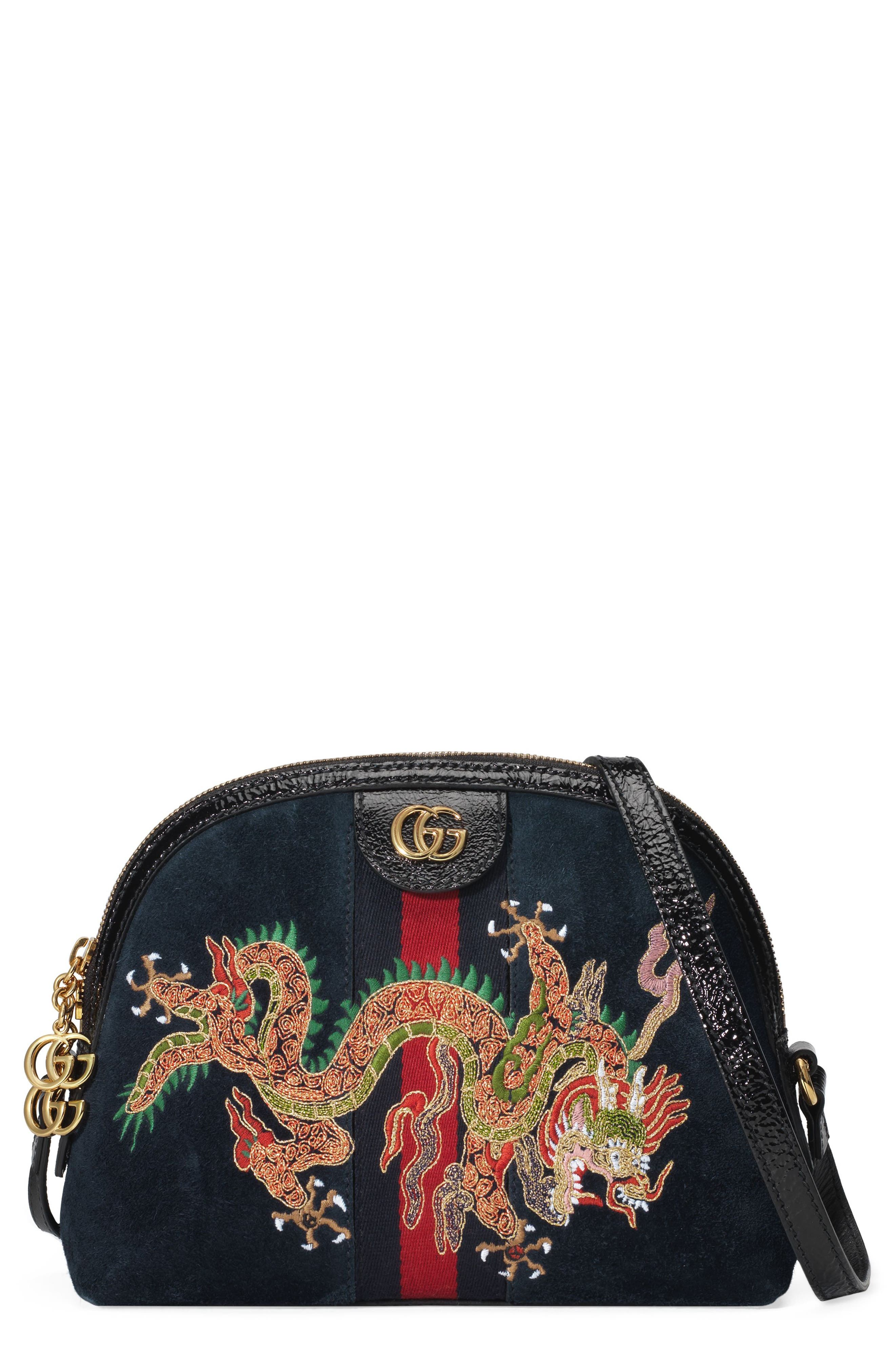 Gucci Small Linea Dragon Embroidered Shoulder Bag
