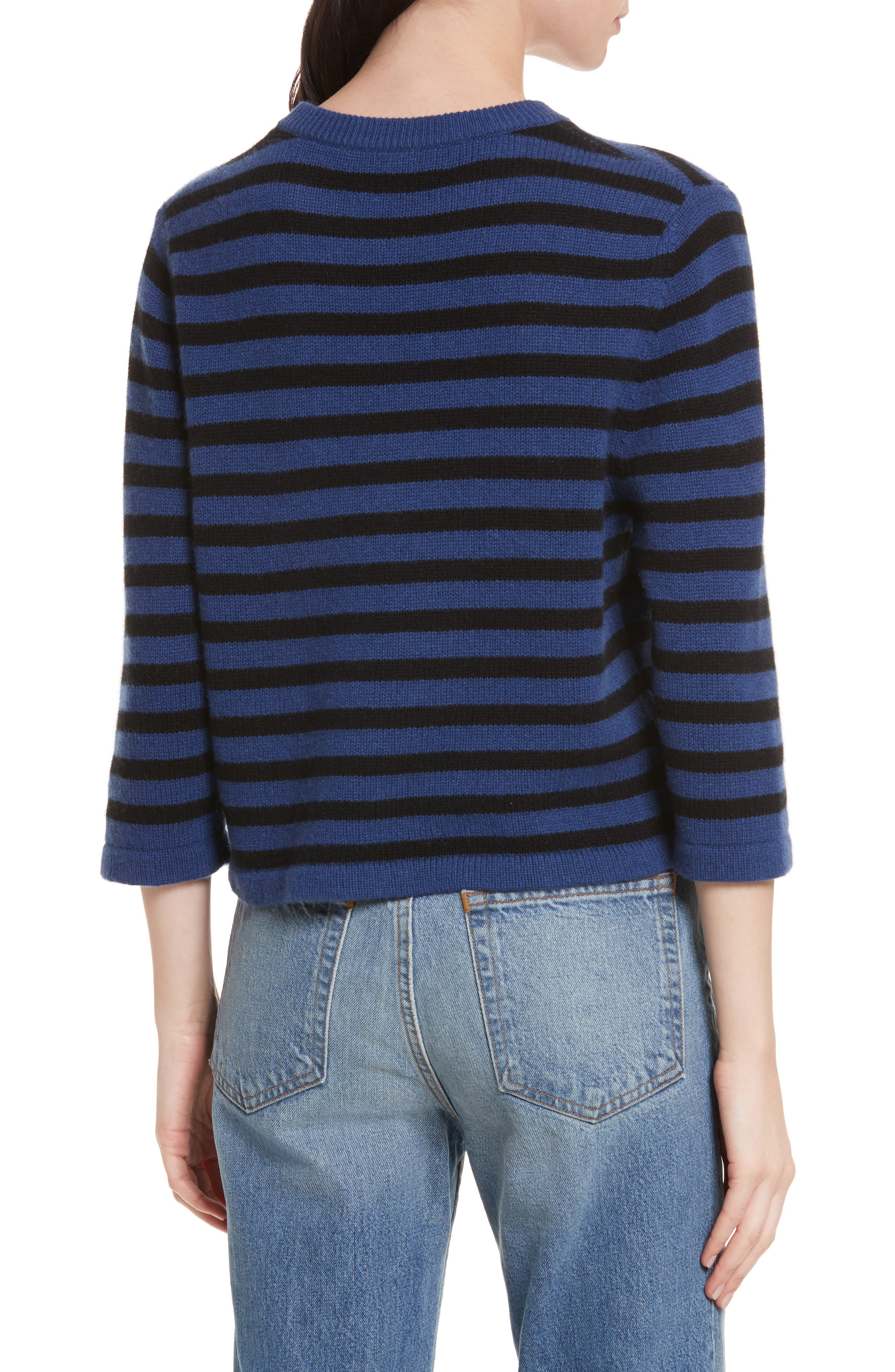 Crop Cashmere Sweater,                             Alternate thumbnail 2, color,                             Blue W/ Black Stripe