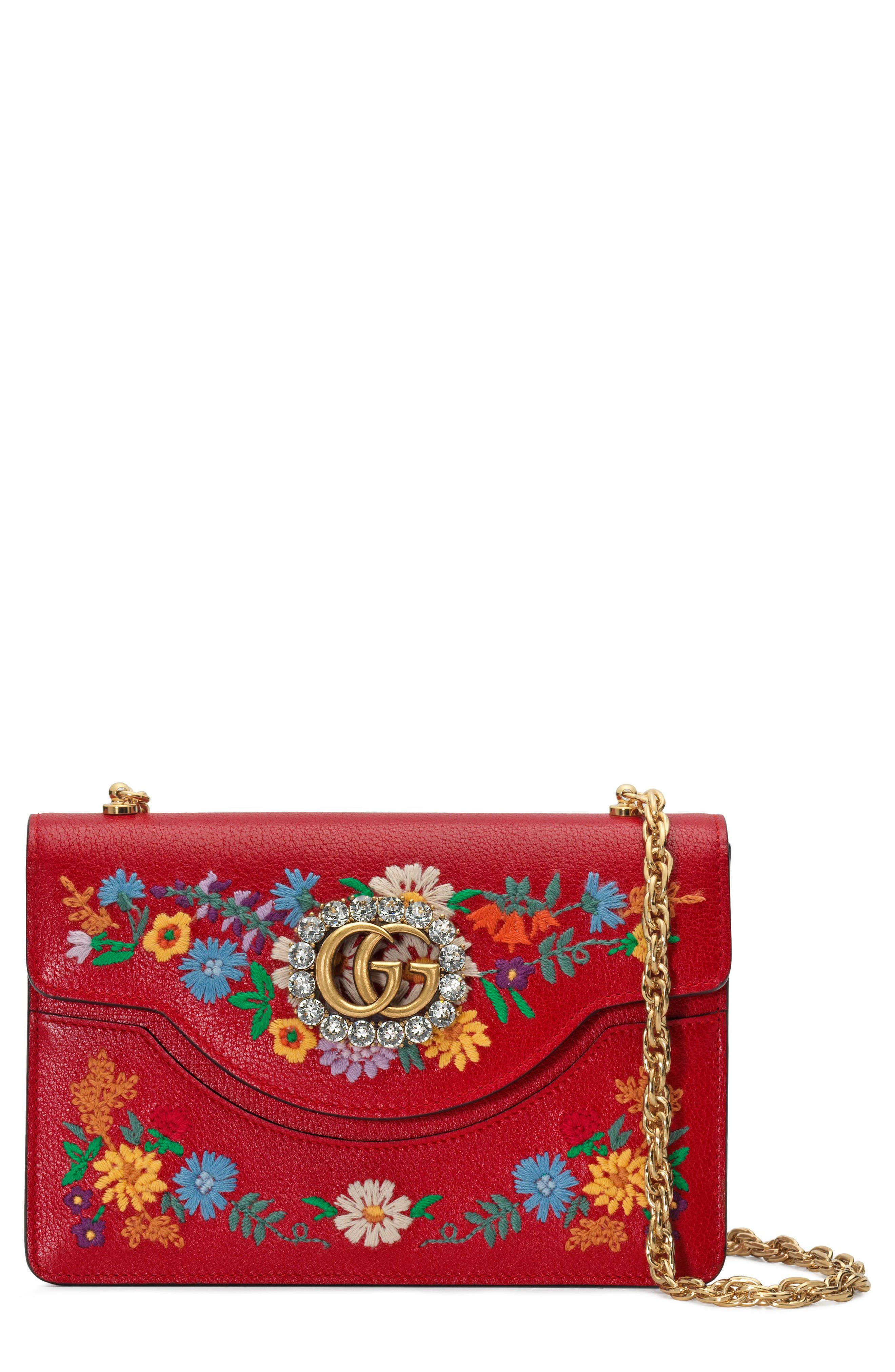 Small Linea Ricami Floral Embroidered Shoulder Bag,                             Main thumbnail 1, color,                             Hibiscus Red Multi