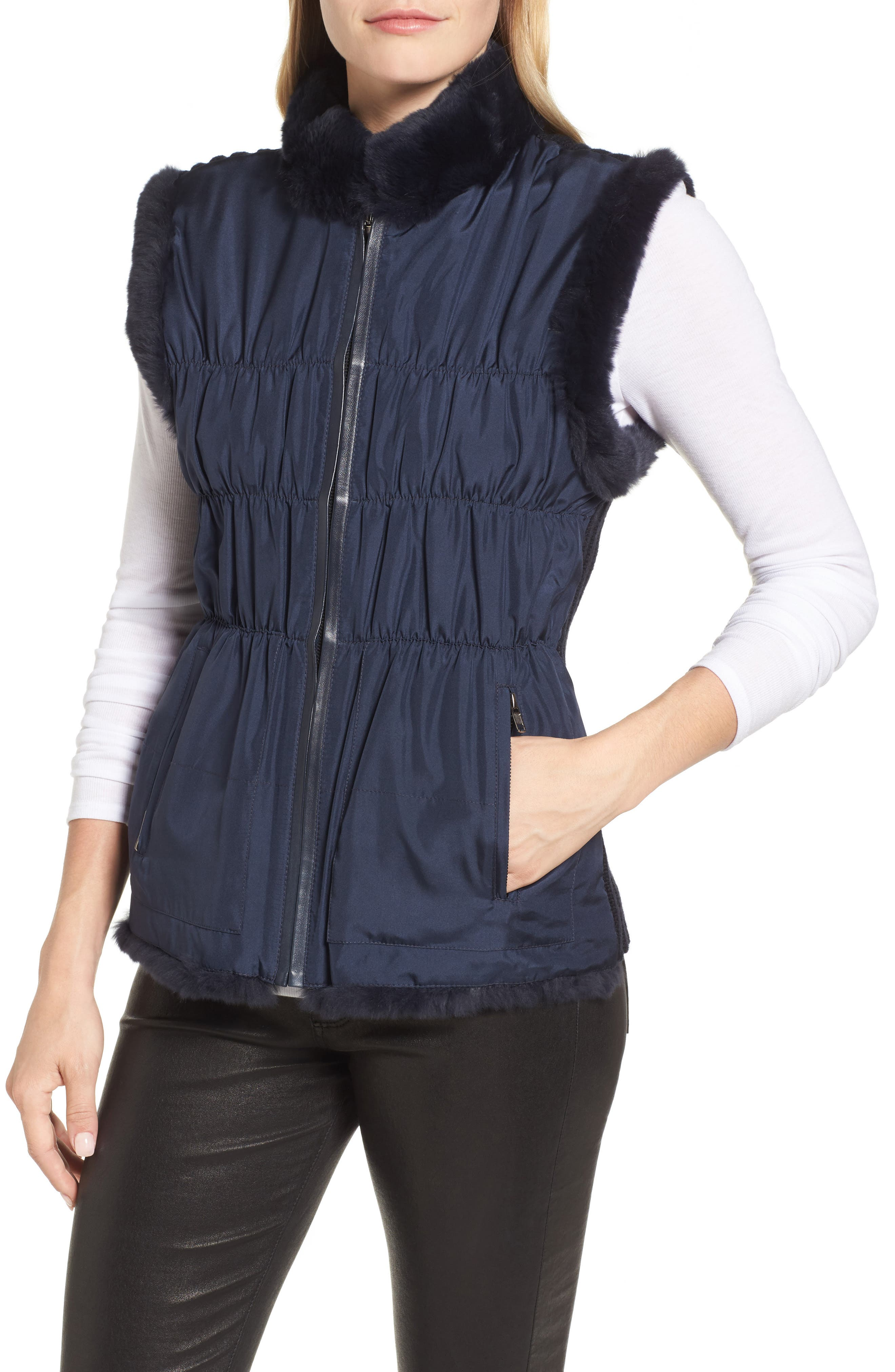 Linda Richards Reversible Genuine Rabbit Fur & Ruched Silk Vest with Knit Back