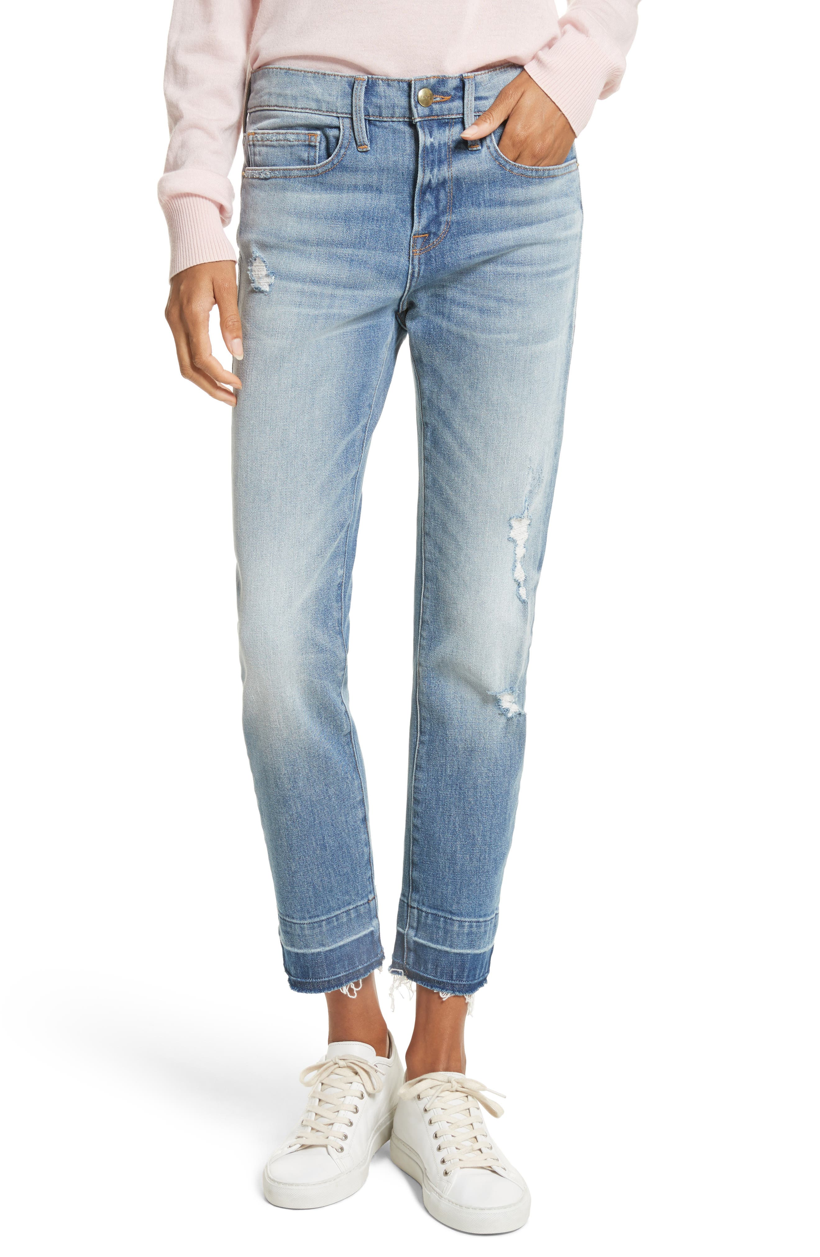 FRAME Le Boy Ripped High Waist Jeans (Klinedale)