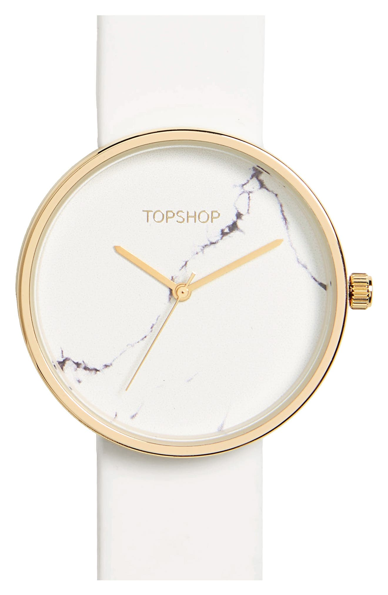 Marble Dial Watch,                         Main,                         color, White