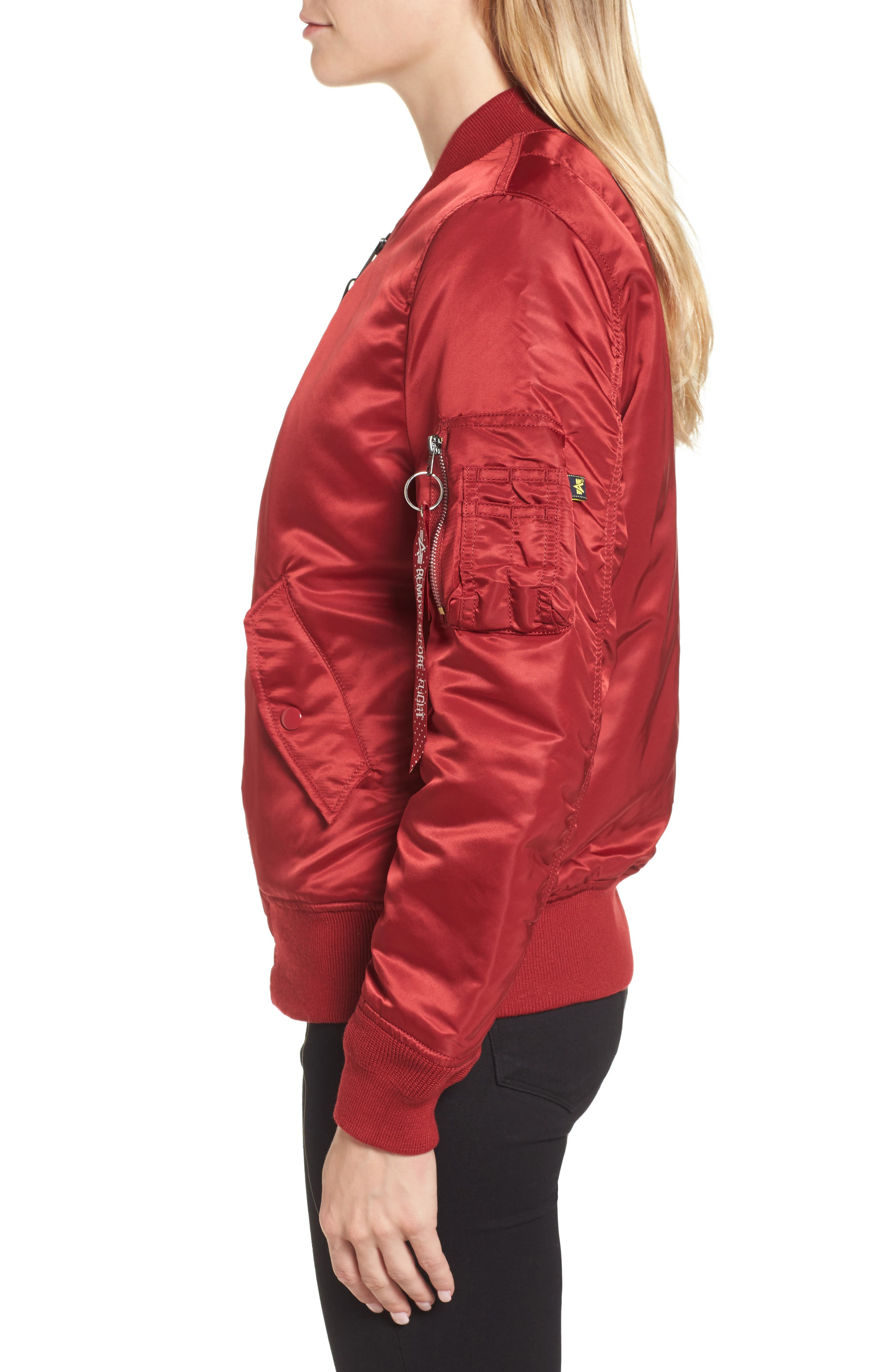 MA-1 W Bomber Jacket,                             Alternate thumbnail 3, color,                             Commander Red