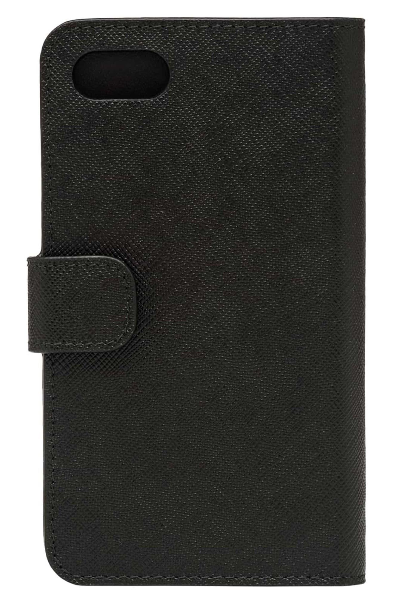 Saffiano Metal Oro Chain Book Phone Wallet,                             Alternate thumbnail 2, color,                             Nero