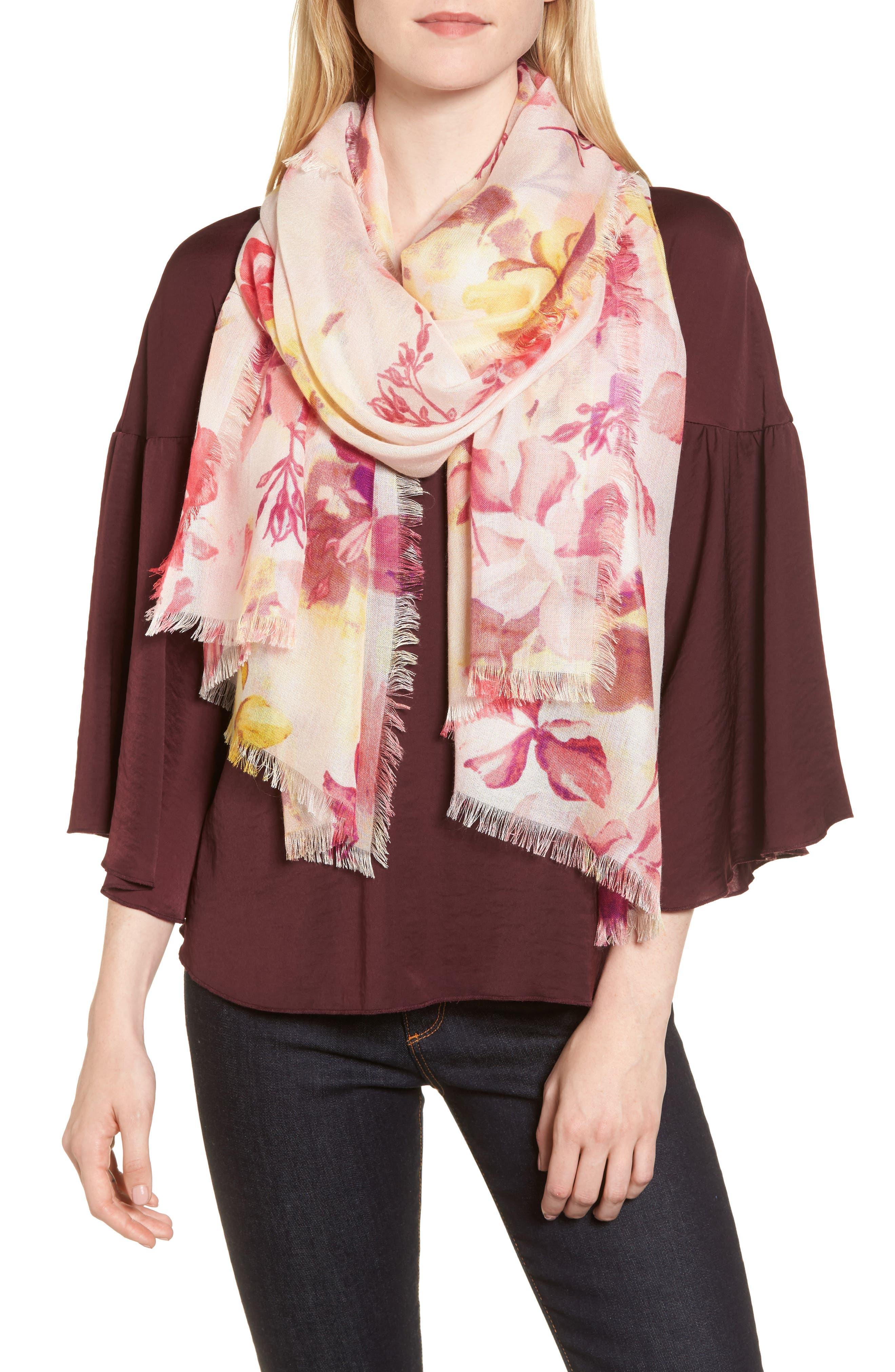 Eyelash Trim Print Cashmere & Silk Wrap,                         Main,                         color, Pink Frosted Petals