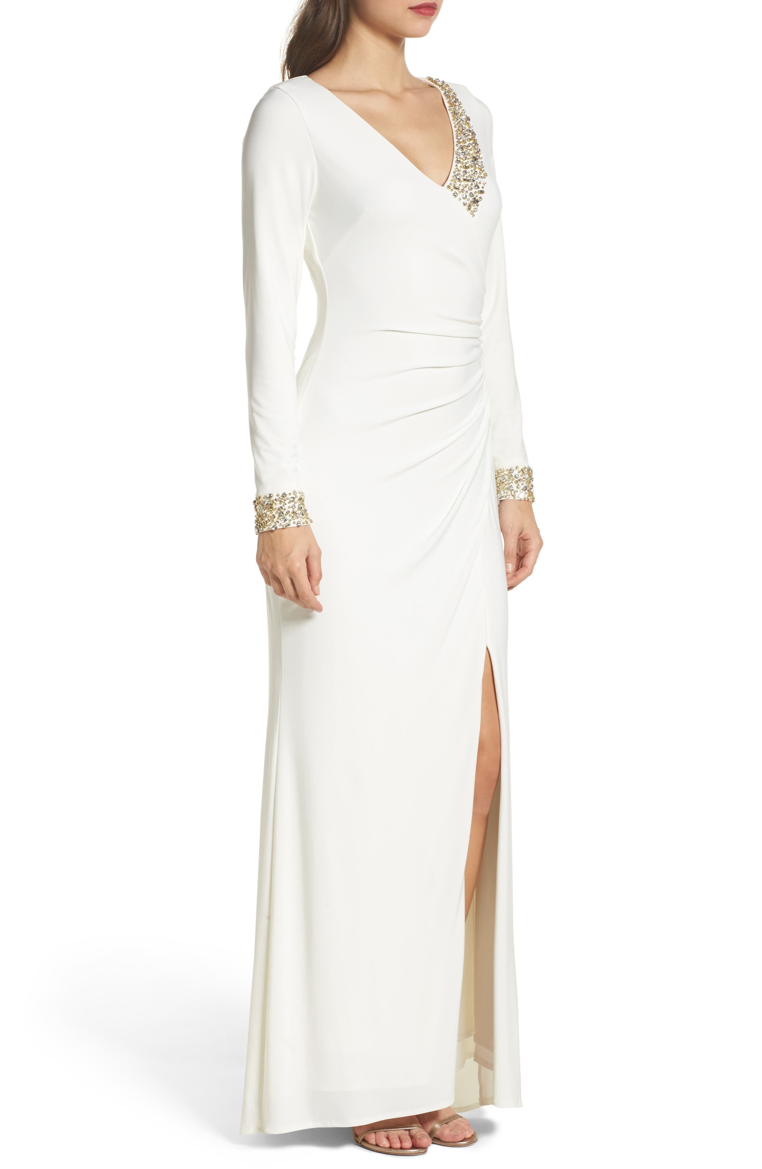 Embellished Side Tuck Jersey Gown,                             Alternate thumbnail 3, color,                             Ivory