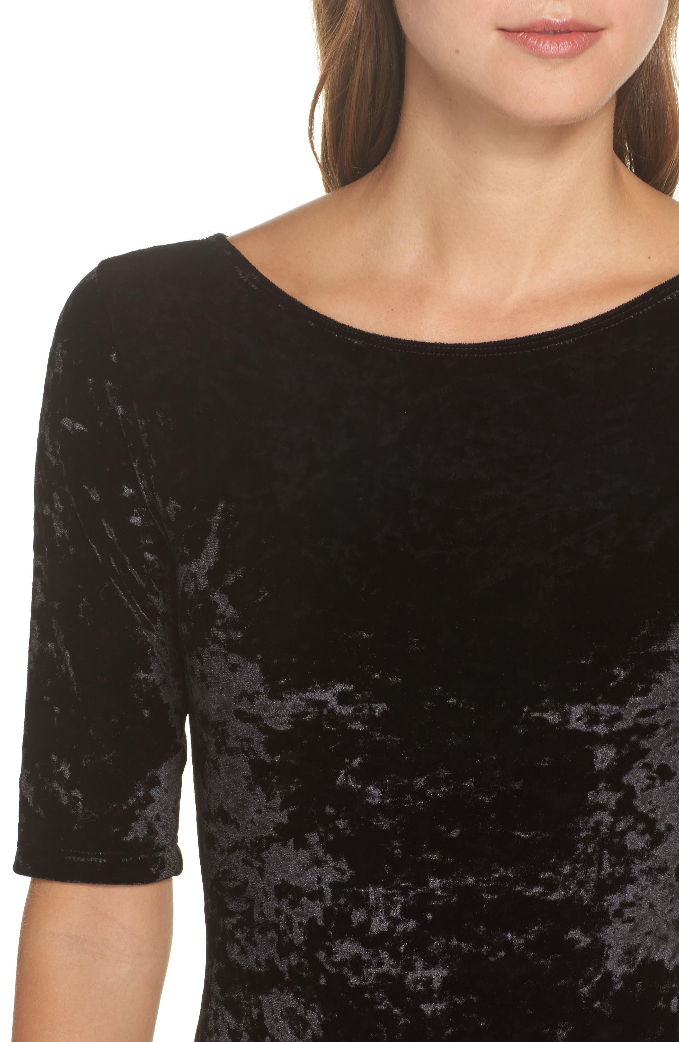 Panne Velvet Bodysuit,                             Alternate thumbnail 5, color,                             Black