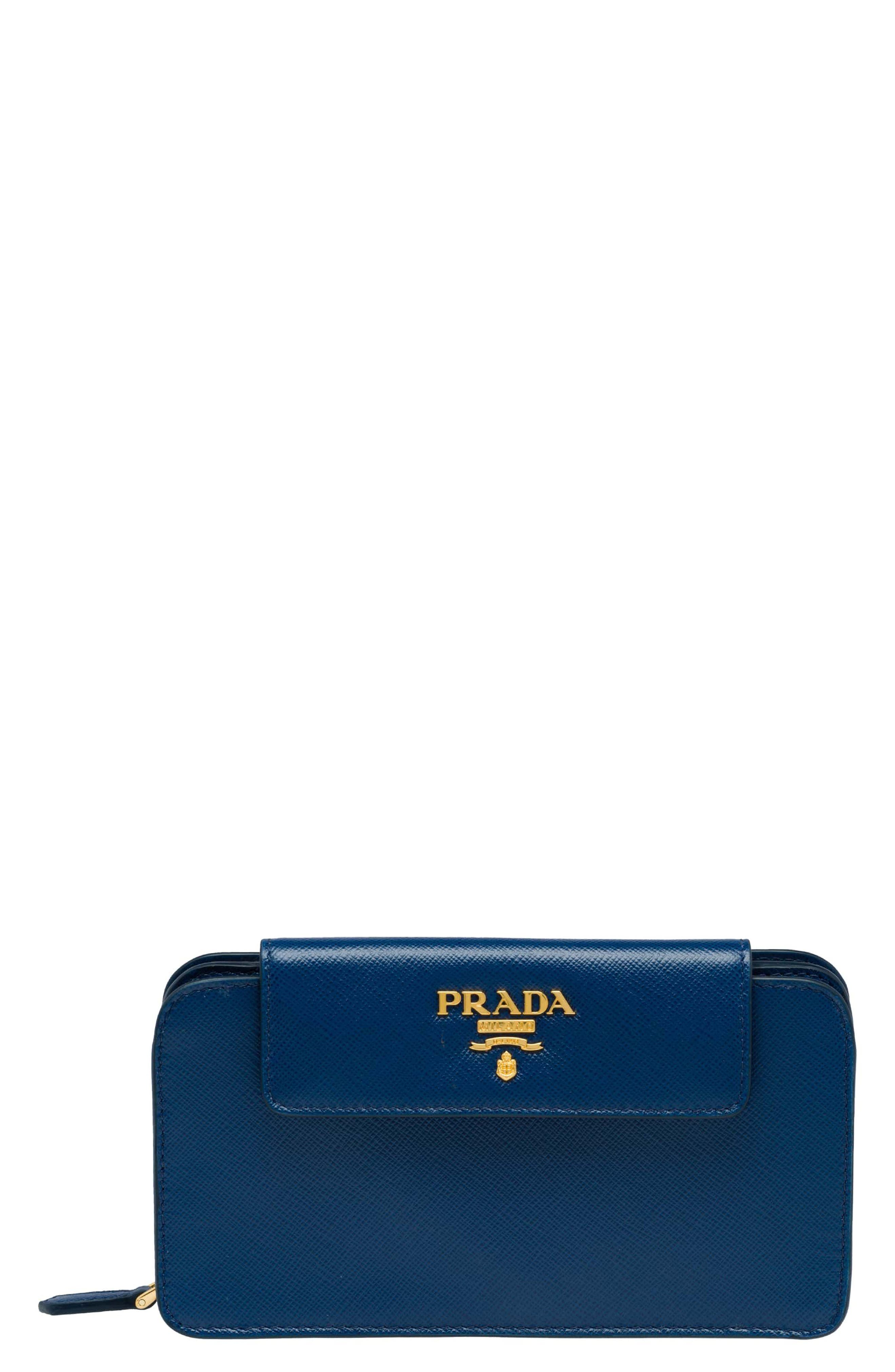 Saffiano Leather Metal Oral Phone Wallet on a Chain,                             Main thumbnail 1, color,                             Bluette