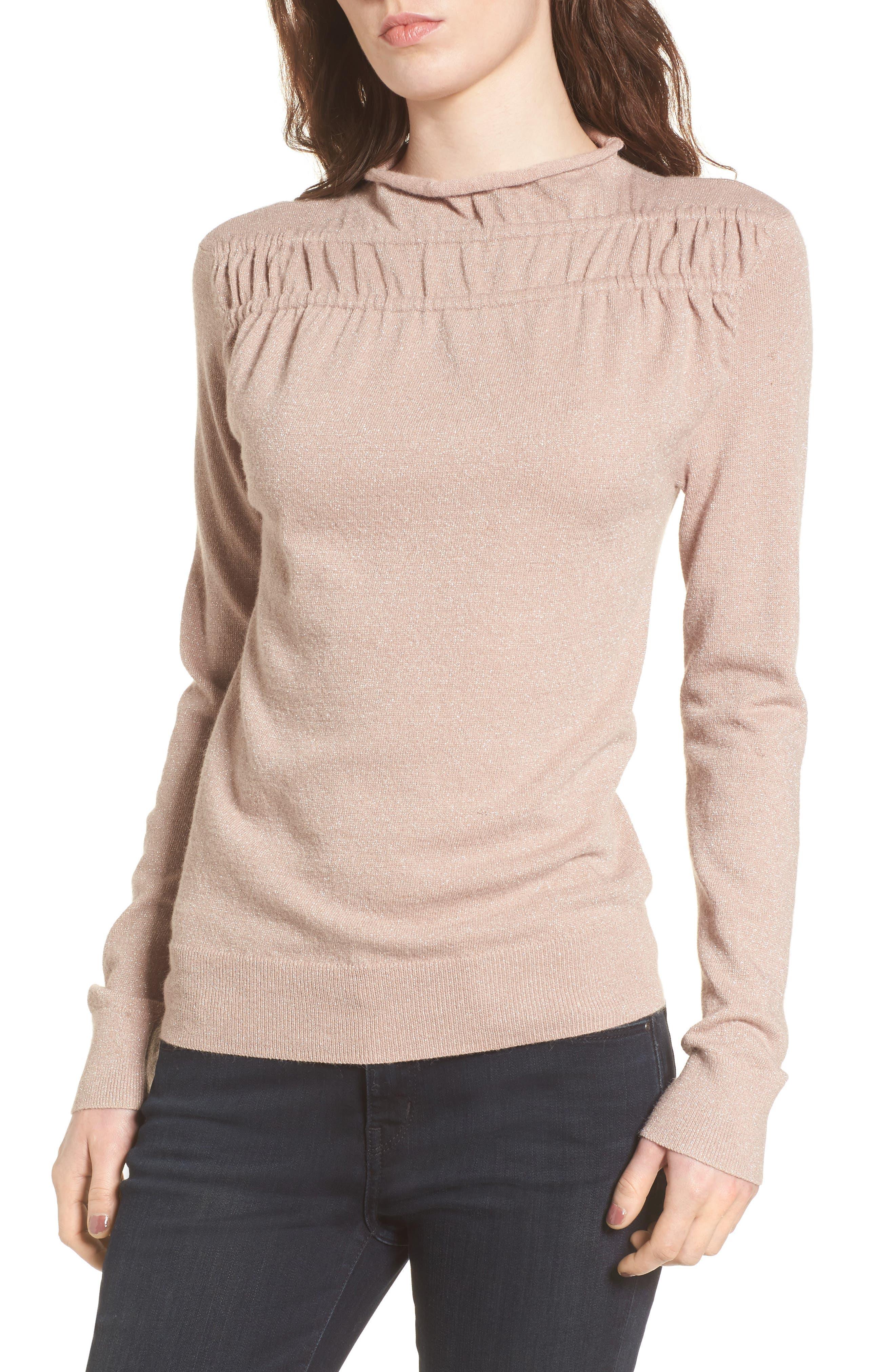 Gathered Sweater,                             Main thumbnail 1, color,                             Pink Adobe Combo