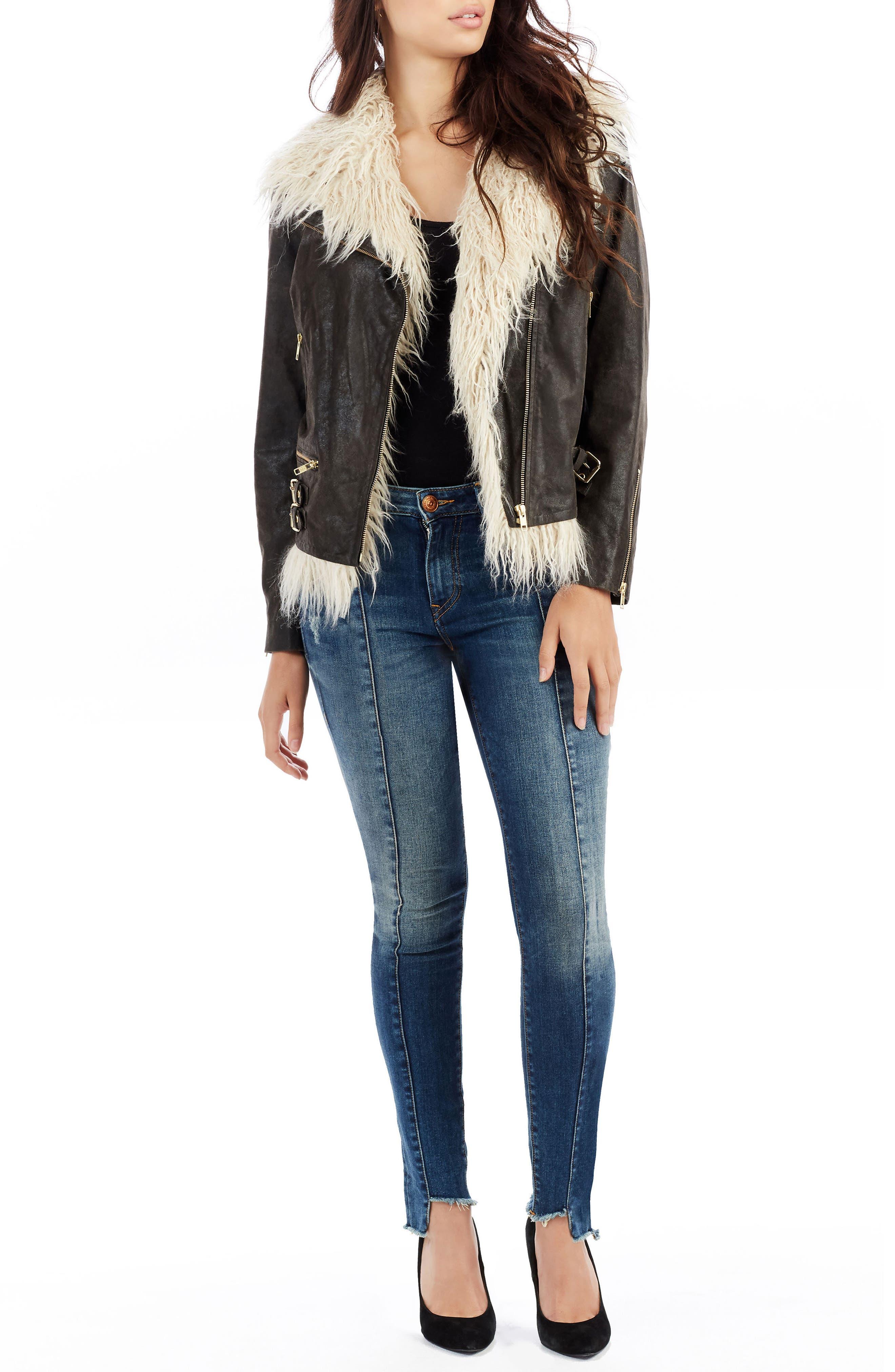 Jennie Curvy Skinny Jeans,                             Alternate thumbnail 3, color,                             Famous Blue Rock