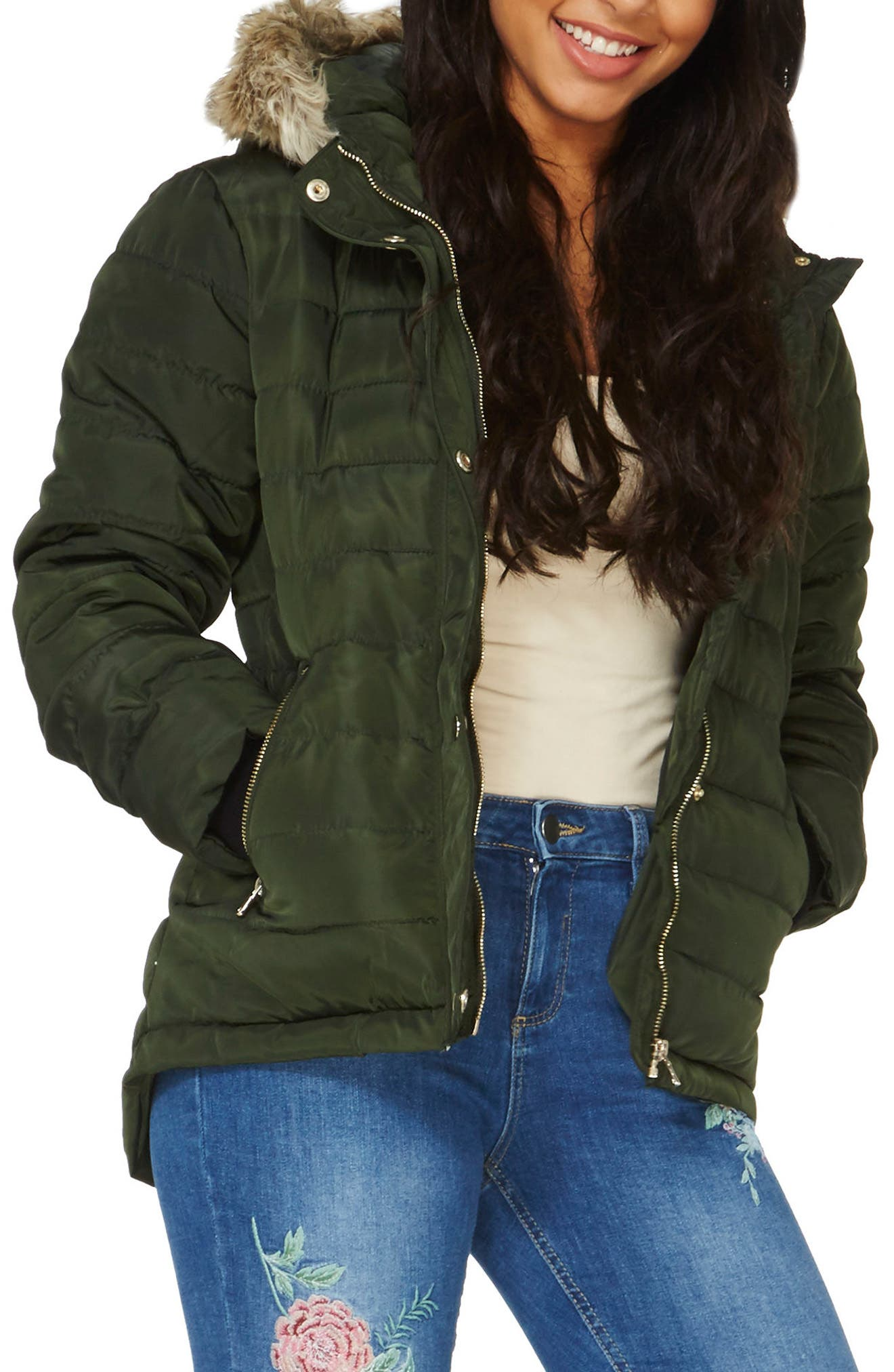 Hooded Faux Fur Puffer Jacket,                         Main,                         color, Green