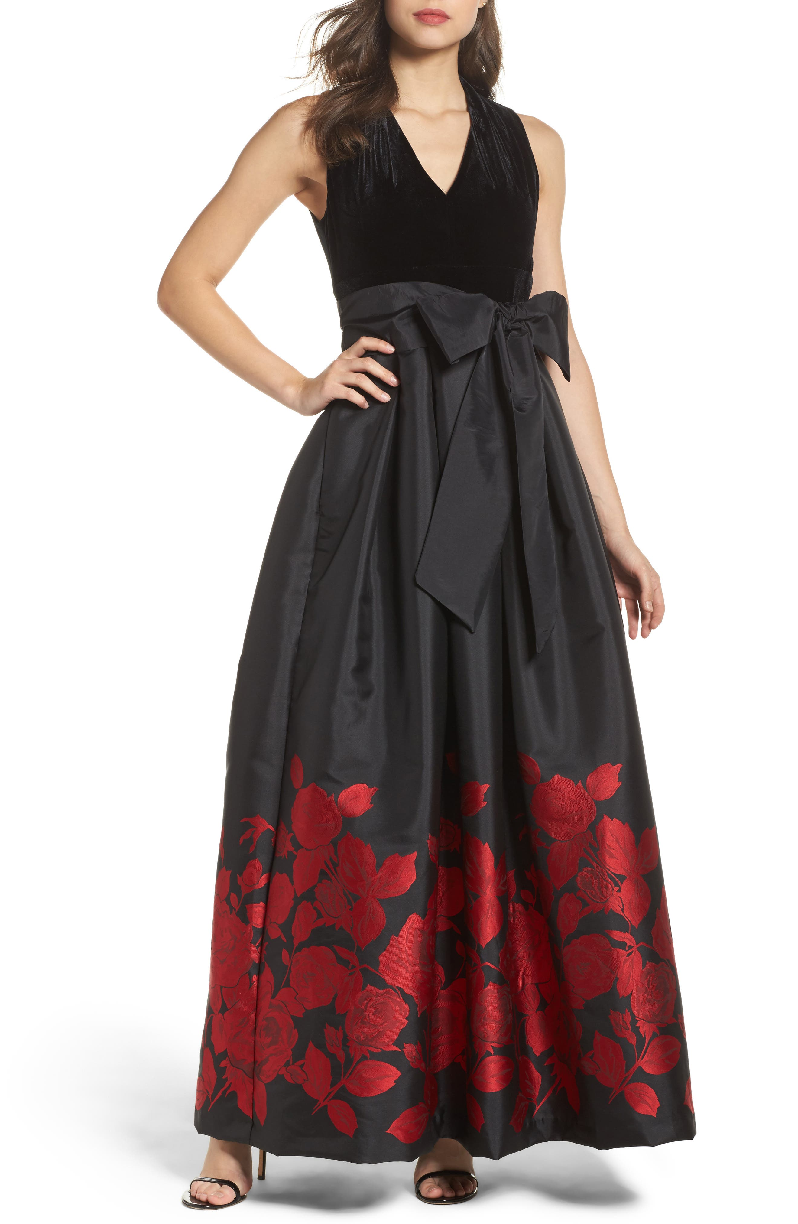 Velvet & Jacquard Ballgown,                             Main thumbnail 1, color,                             Black Red