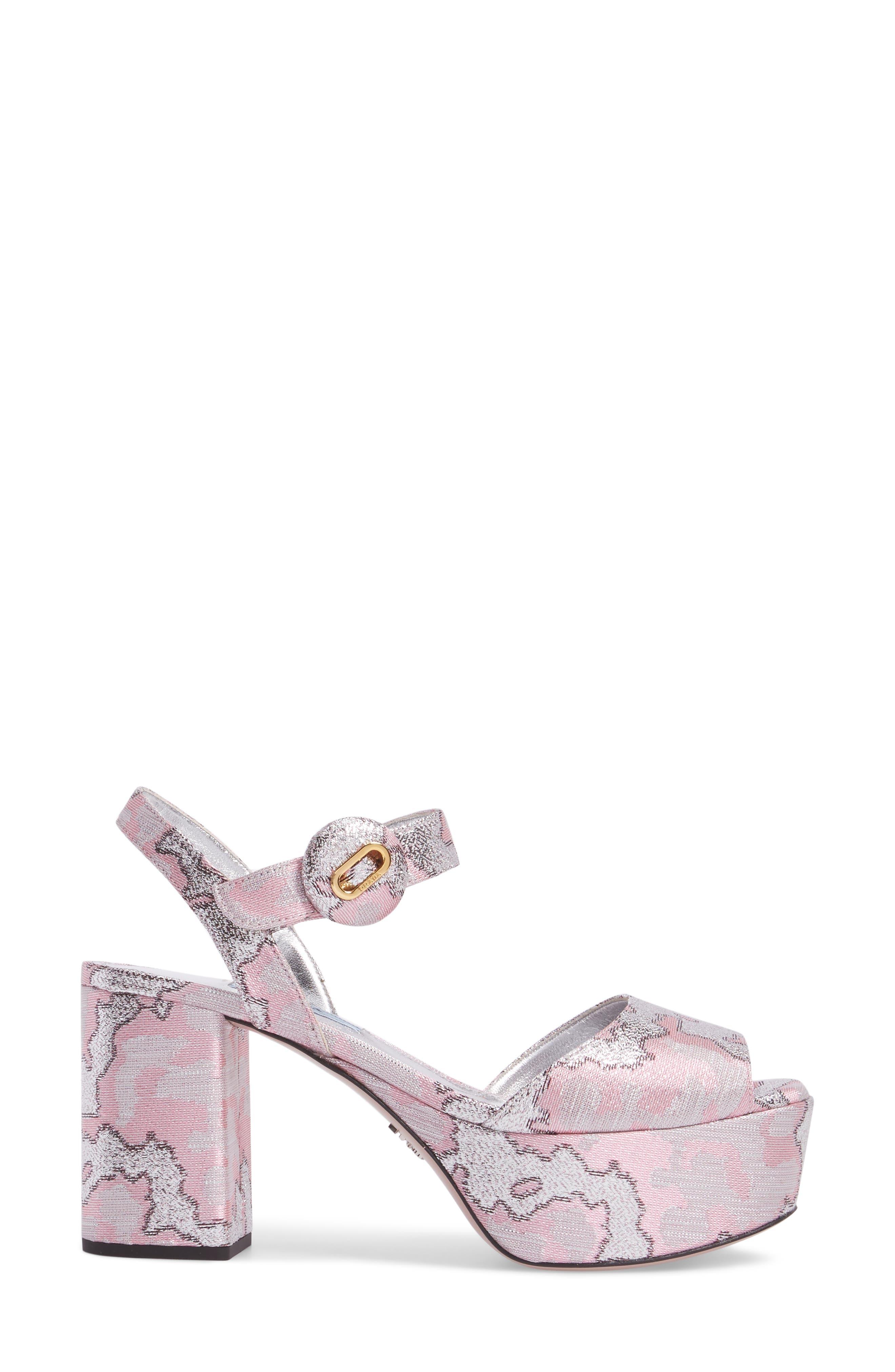 Ankle Strap Platform Sandal,                             Alternate thumbnail 3, color,                             Pink