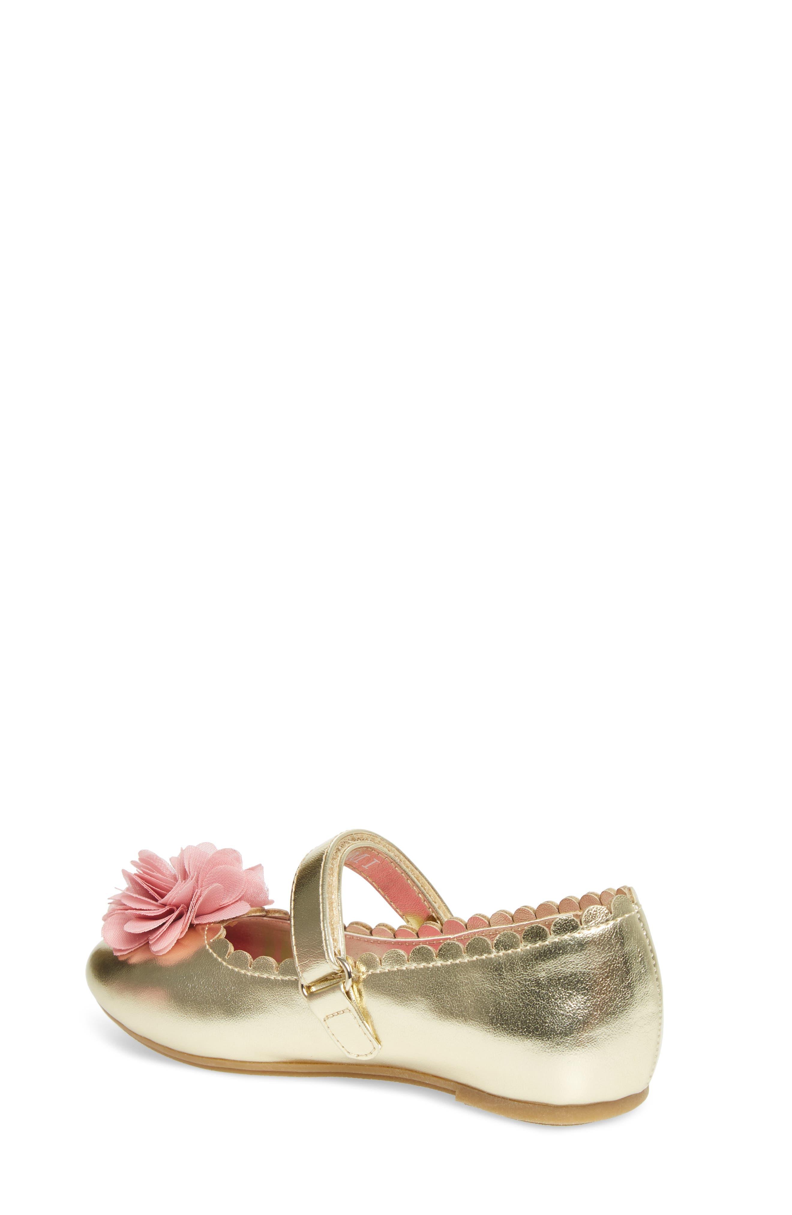 Alternate Image 2  - WellieWishers from American Girl Ashlyn Flower Strap Ballet Flat (Walker & Toddler)