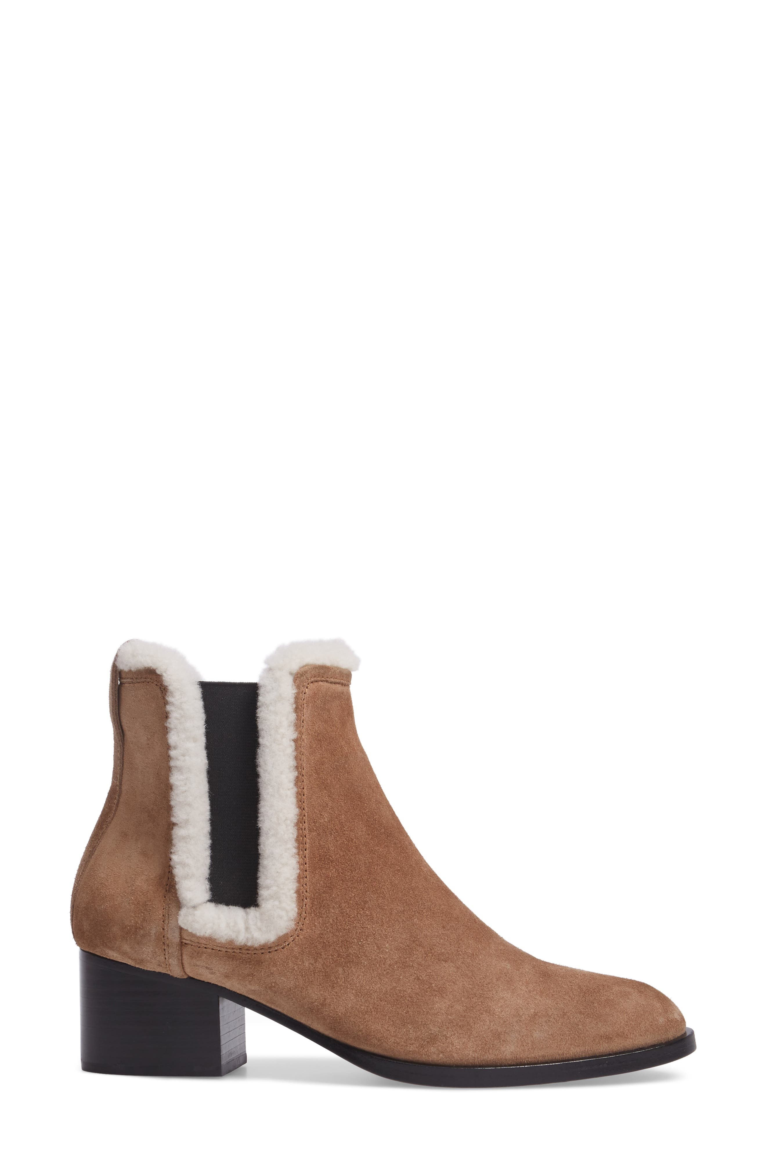 Walker Bootie with Genuine Shearling Trim,                             Alternate thumbnail 3, color,                             Camel