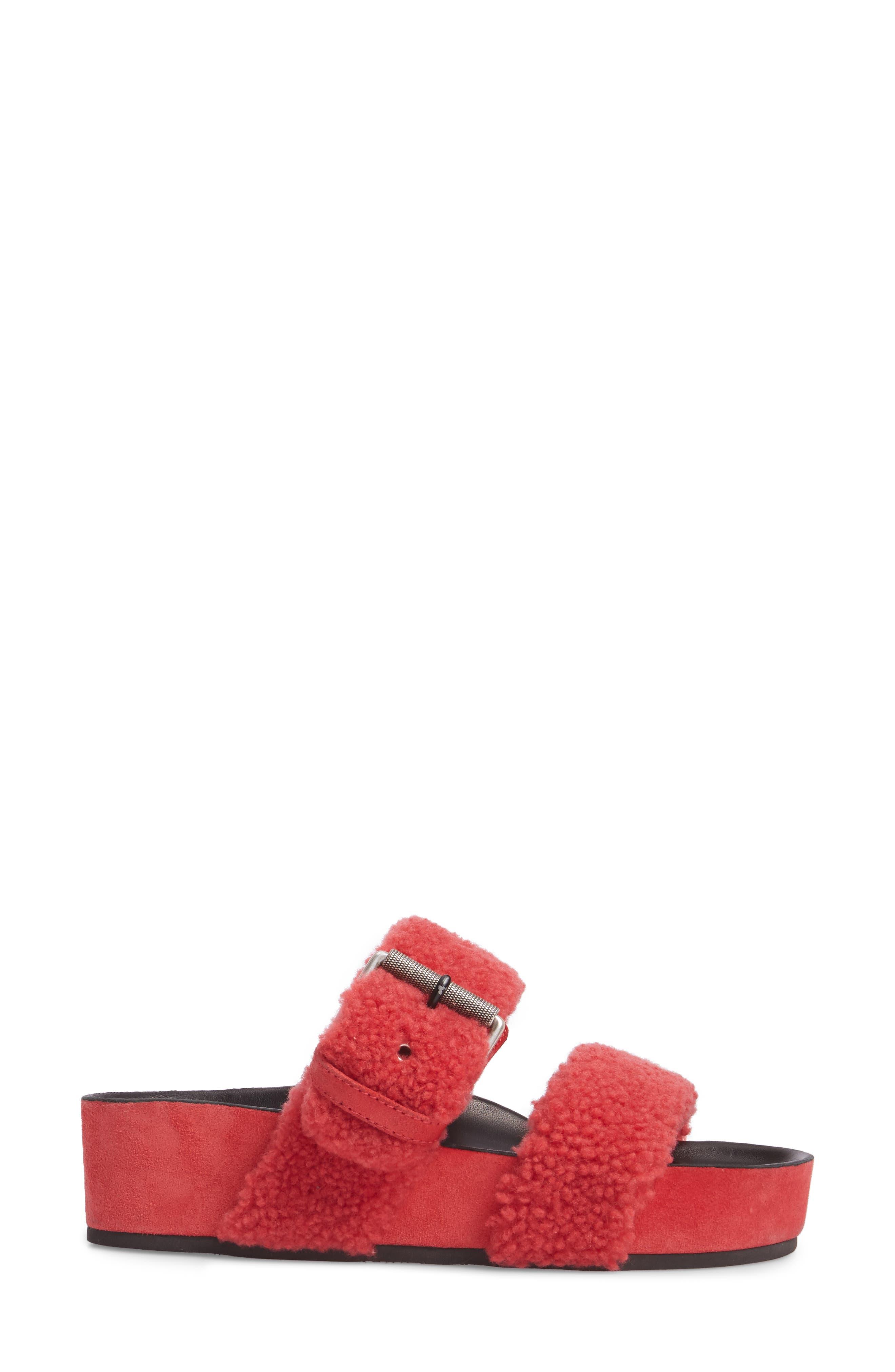 Evin Genuine Shearling Slide Sandal,                             Alternate thumbnail 3, color,                             Berry